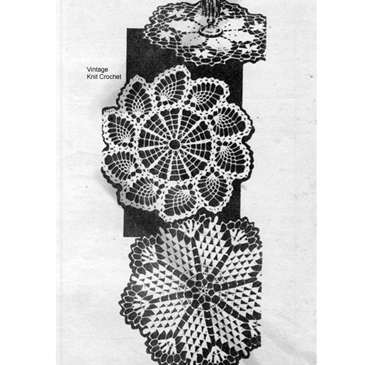Pinwheel Pineapple Crochet Doilies, Mail order 7383