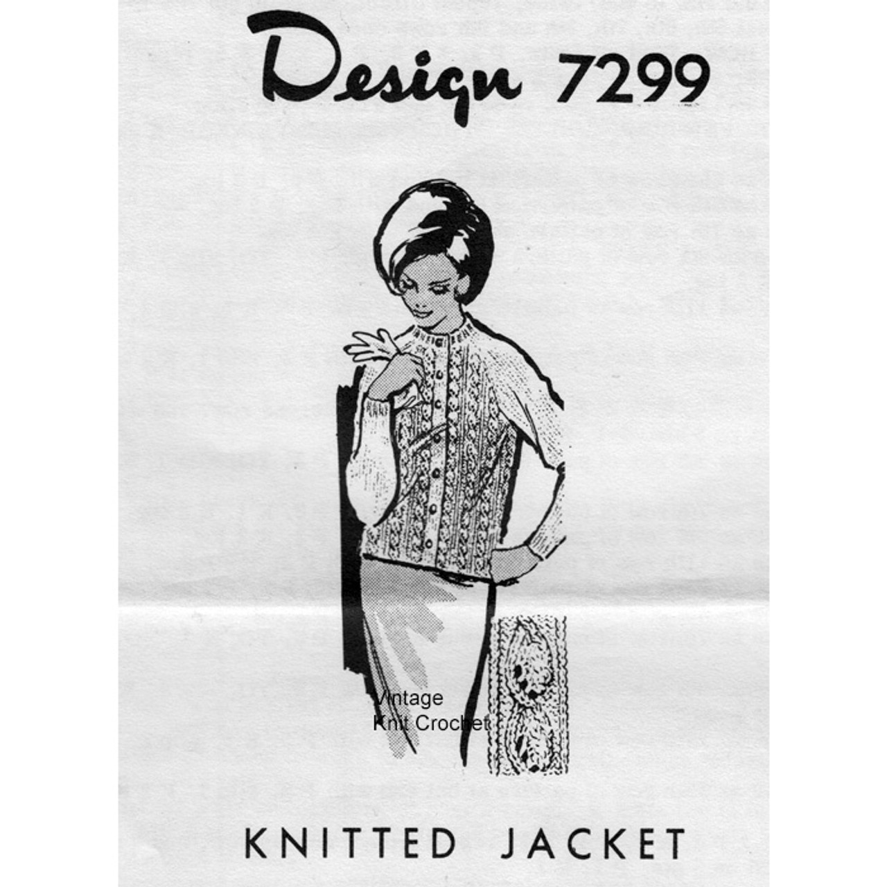 Alice Brooks 7299, Cable Jacket Knitting Pattern