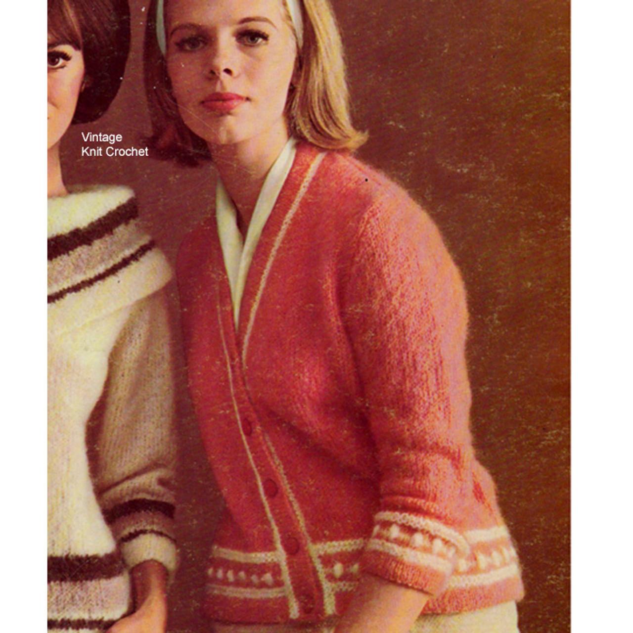 Bernat Style 368-118, mohair cardigan knitting pattern