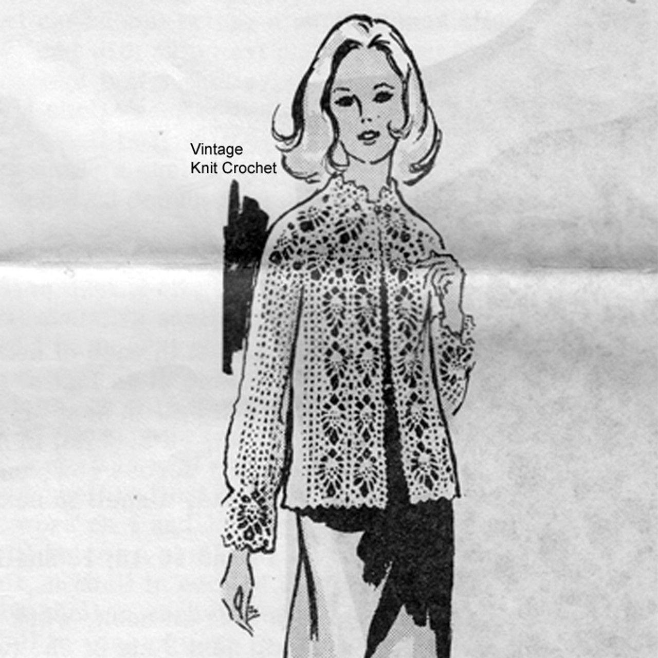 Crocheted Pineapple Jacket Pattern Mail Order 7208
