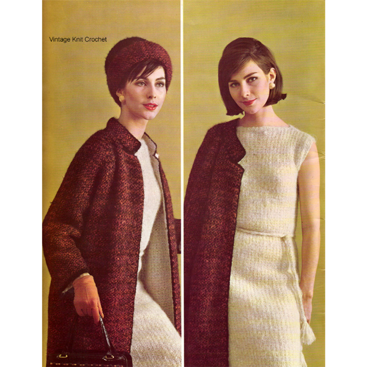 Knitted Mohair Suit Pattern, Dress Jacket Beret