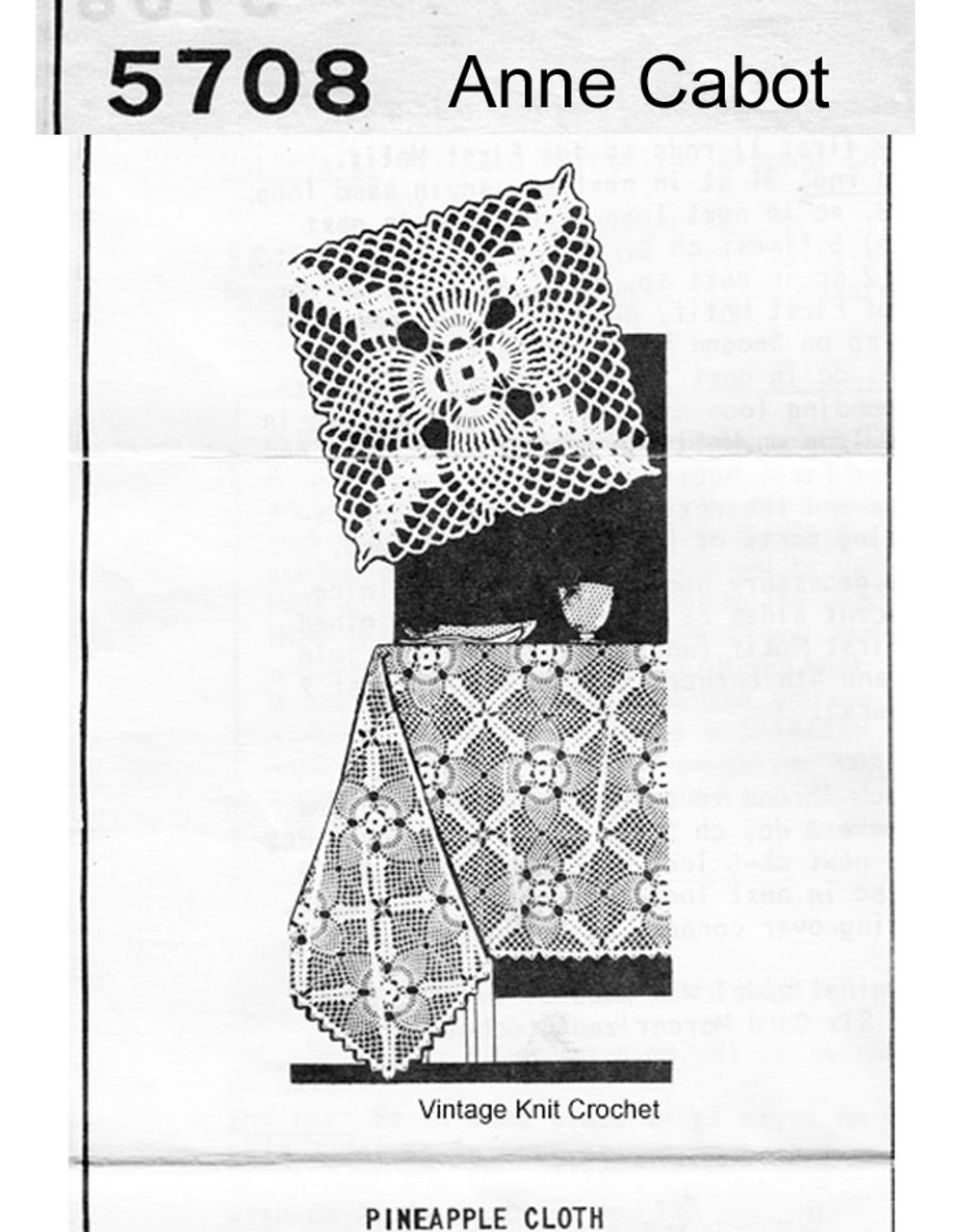 Vintage Crochet Pineapple Tablecloth Pattern, Anne Cabot 5708