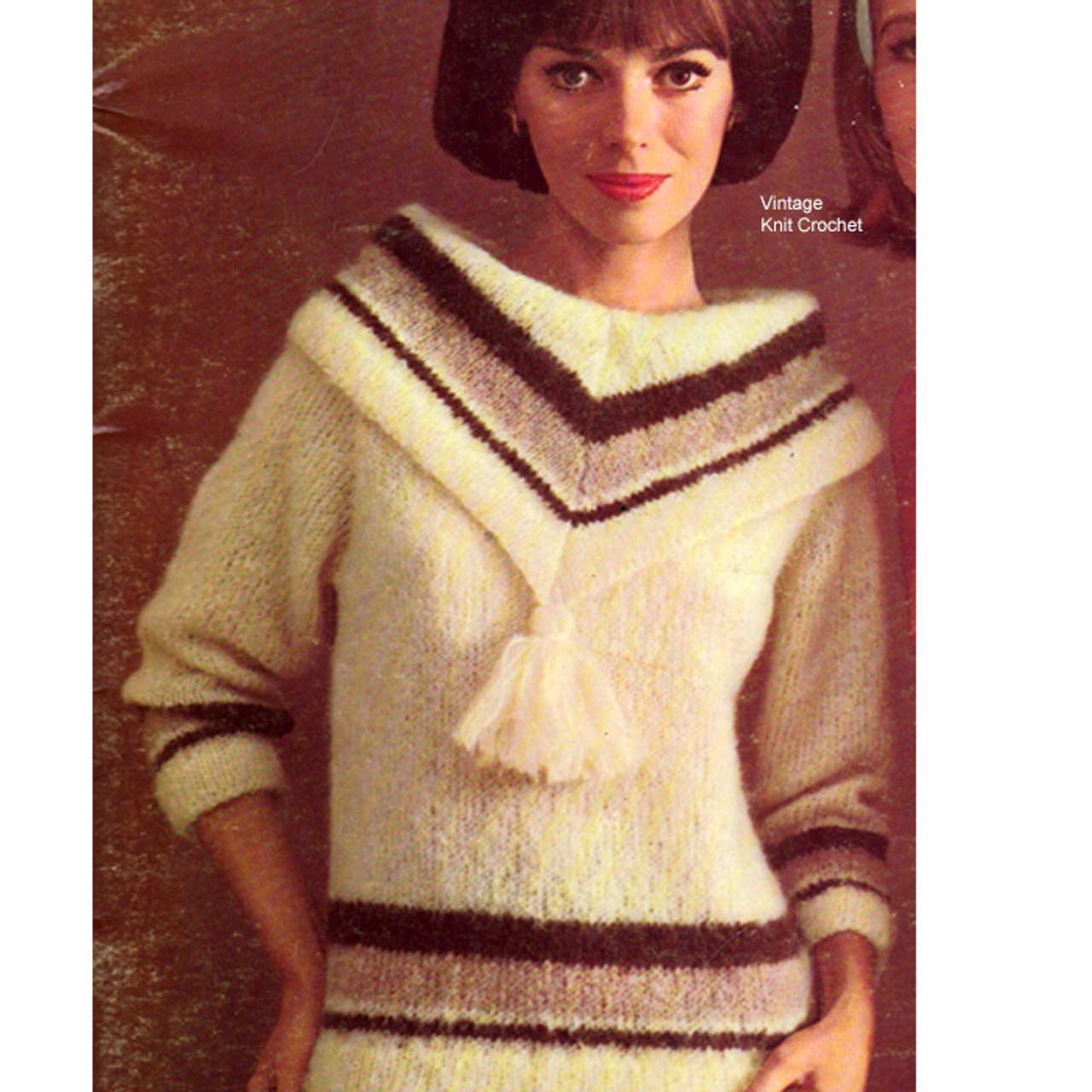 Long Sleeve Mohair Sweater Knitting Pattern from Bernat