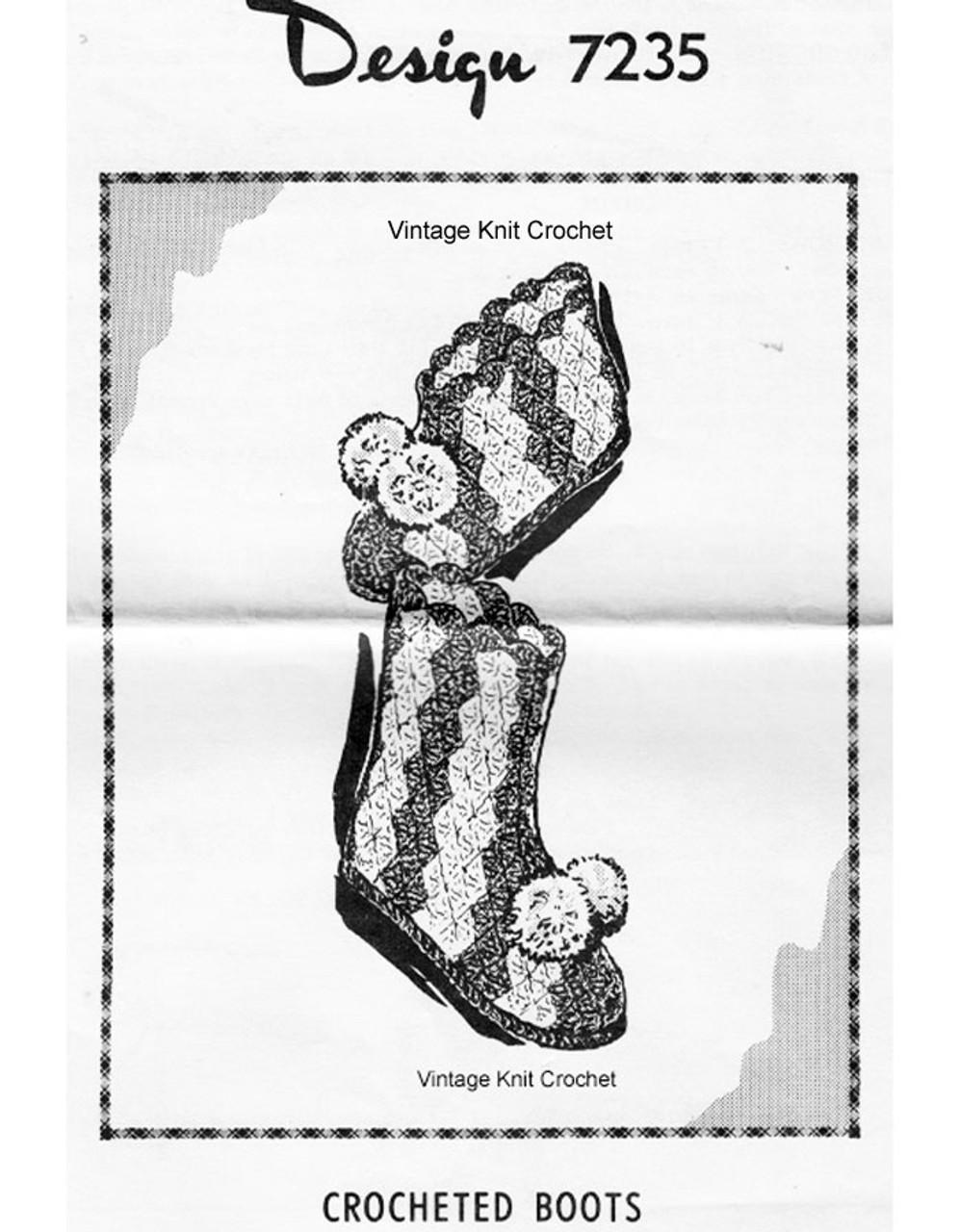 Crochet Shell Stitch Boots Pattern, Design 7235