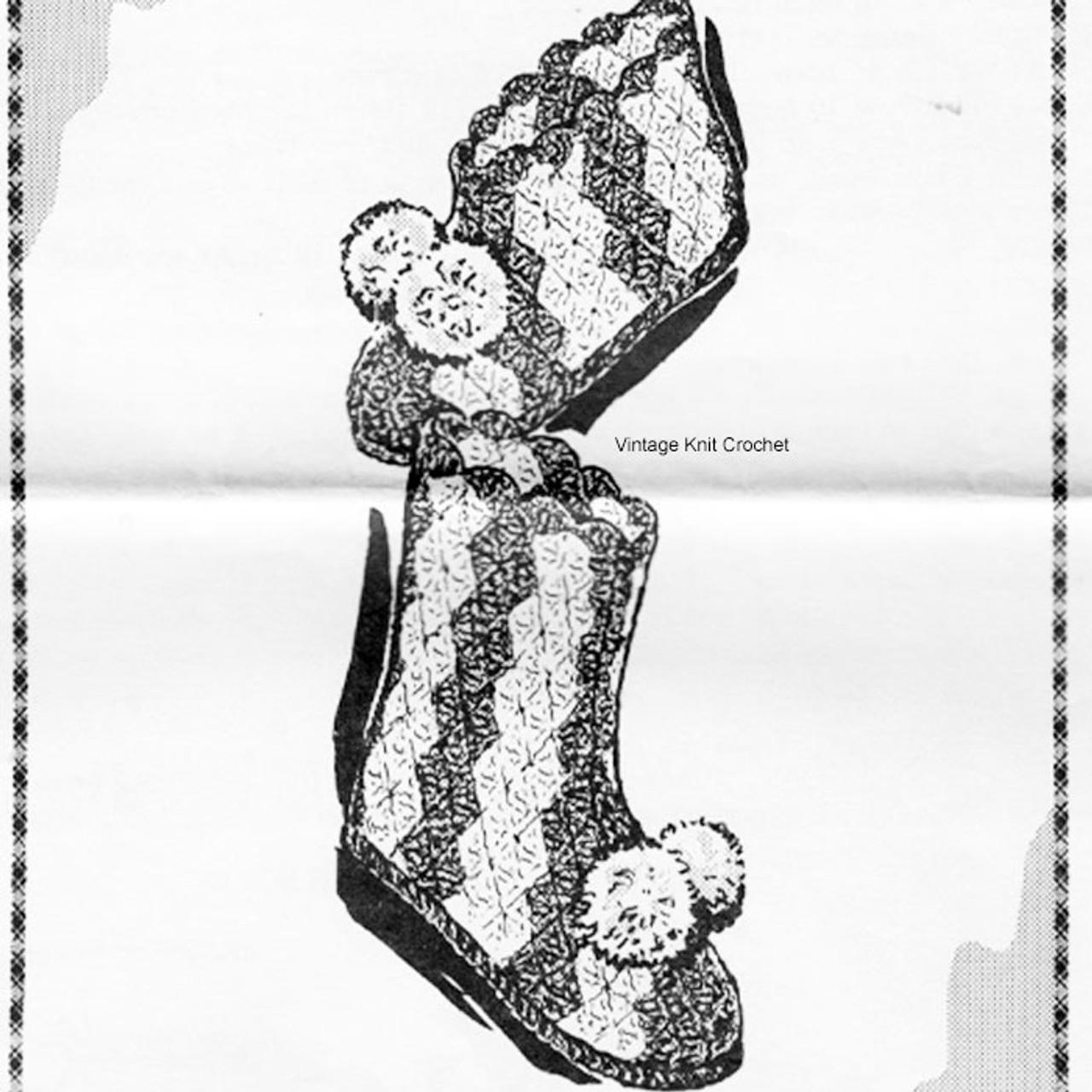 Mail Order Crochet Slippers Pattern, Shell Stitch, Alice Brooks 7235
