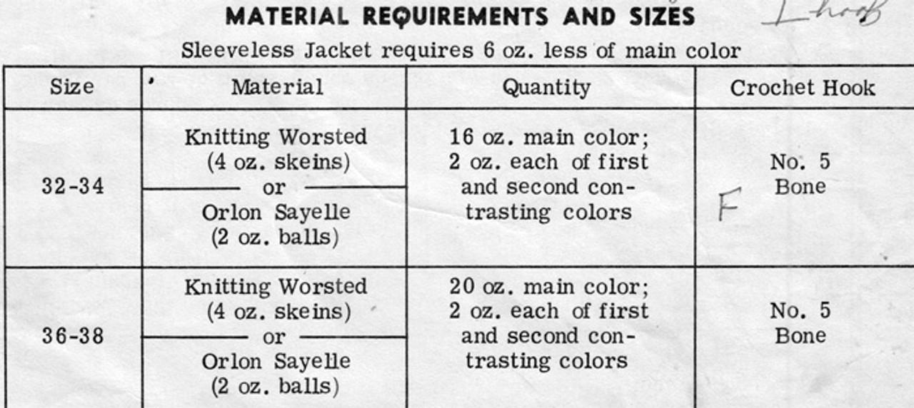 Design 7377, Crochet Jacket Material Requirements