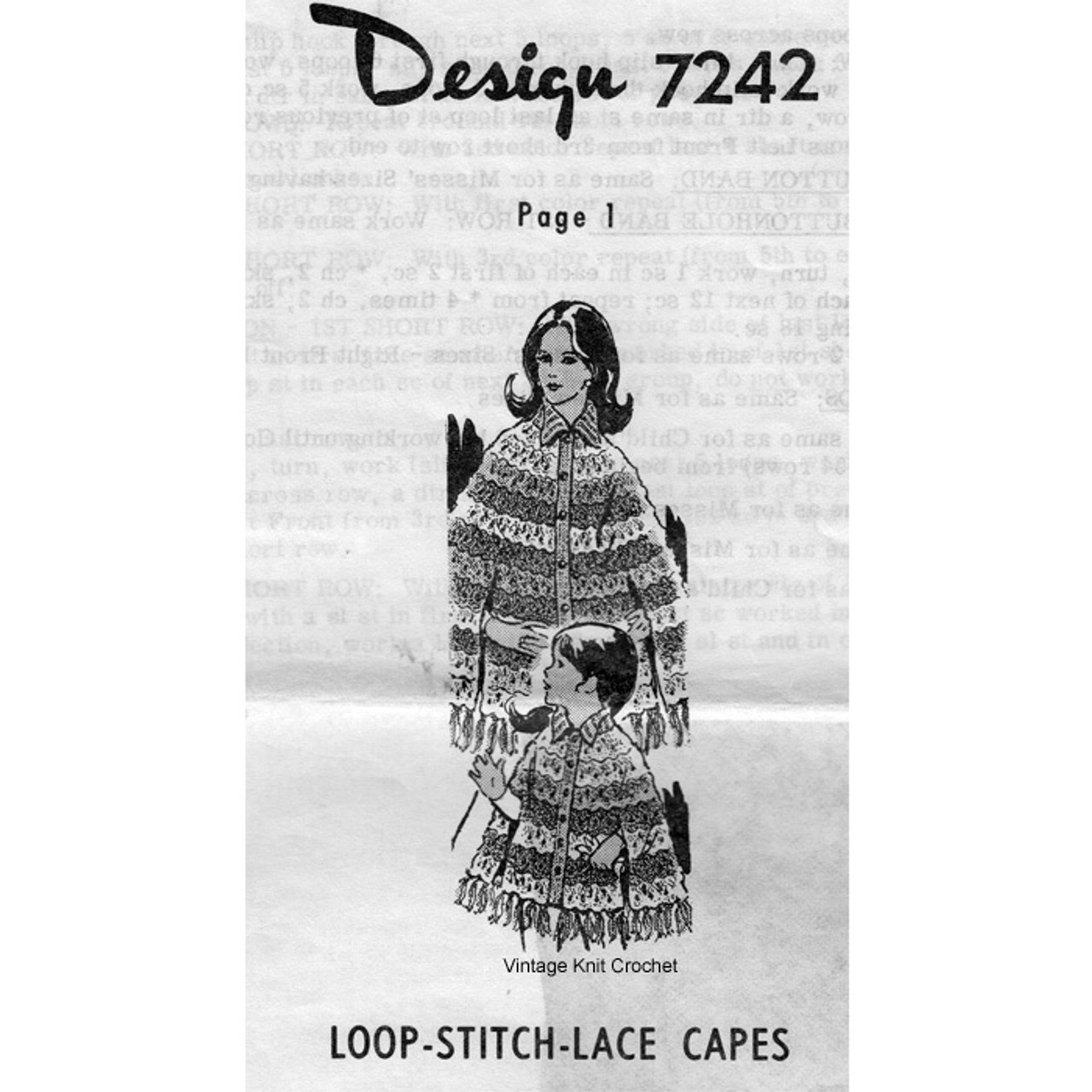 Alice Brooks 7242, Loop Stitch Crochet Capes