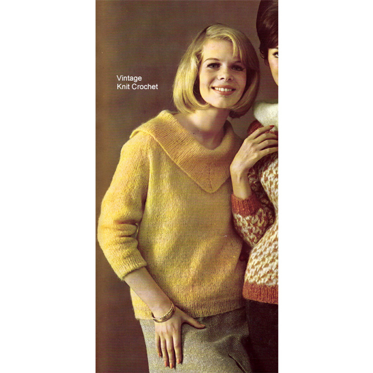 Bernat Knitting Pattern, V-Cowl Neck Sweater