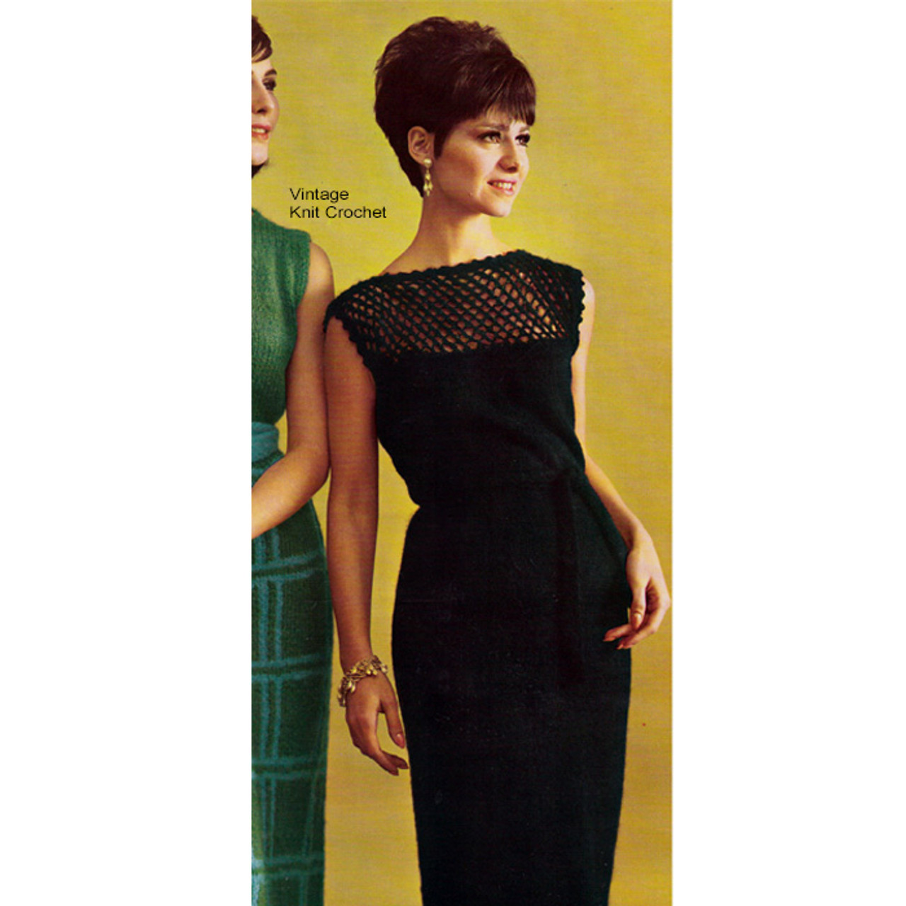 Knitted Evening Dress Pattern with Openwork yoke in Mohairlaine