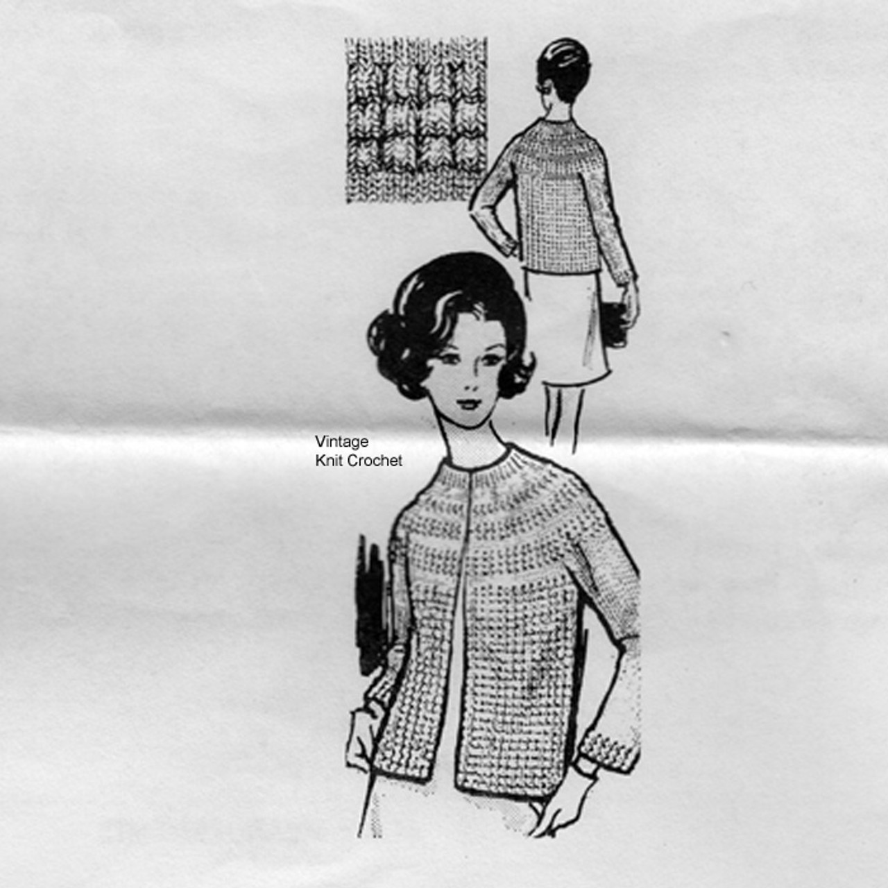 Mail Order Pucker Stitch Knitted Jacket Pattern, Laura Wheeler 666