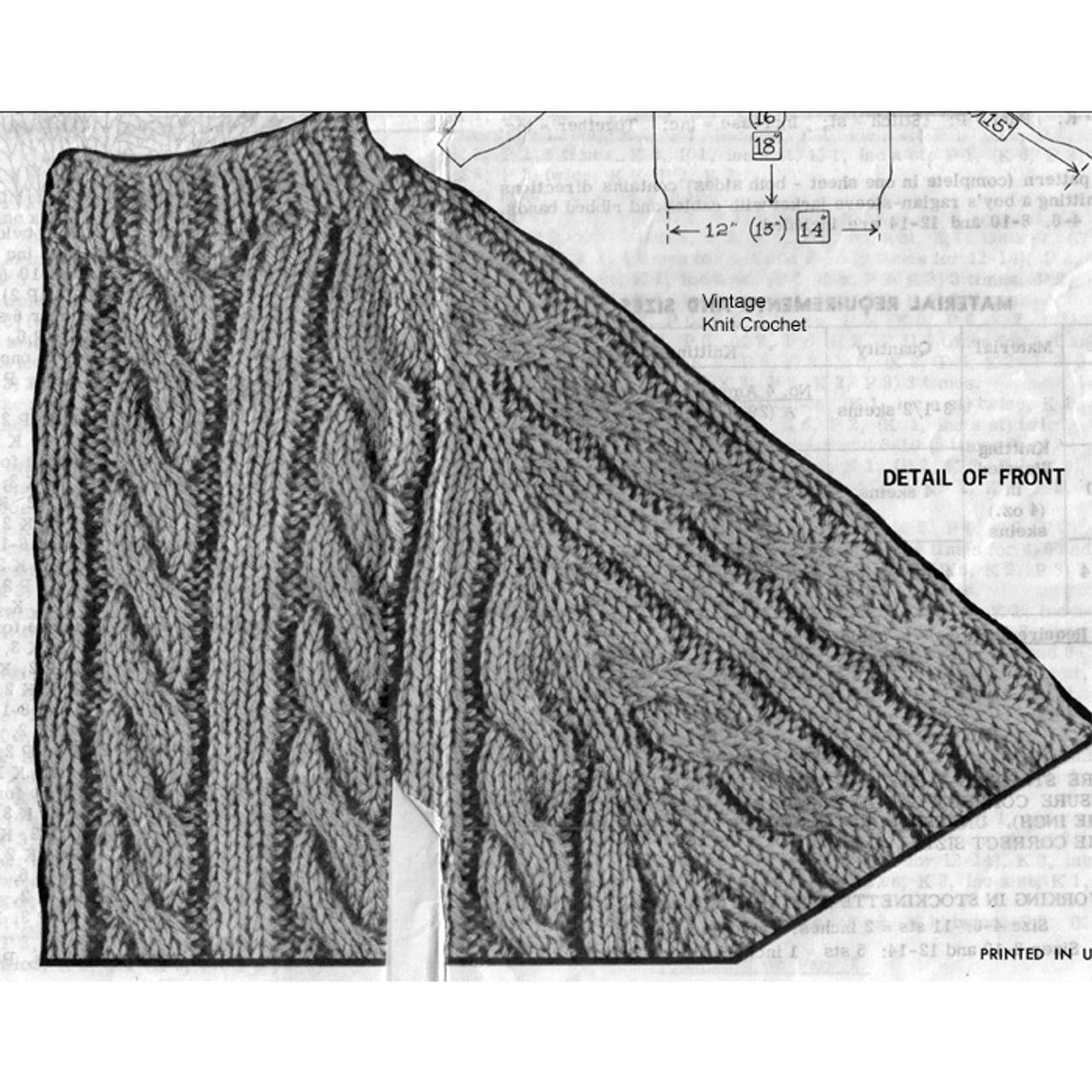 Knitted Cable Stitch Illustration for Childs Jacket