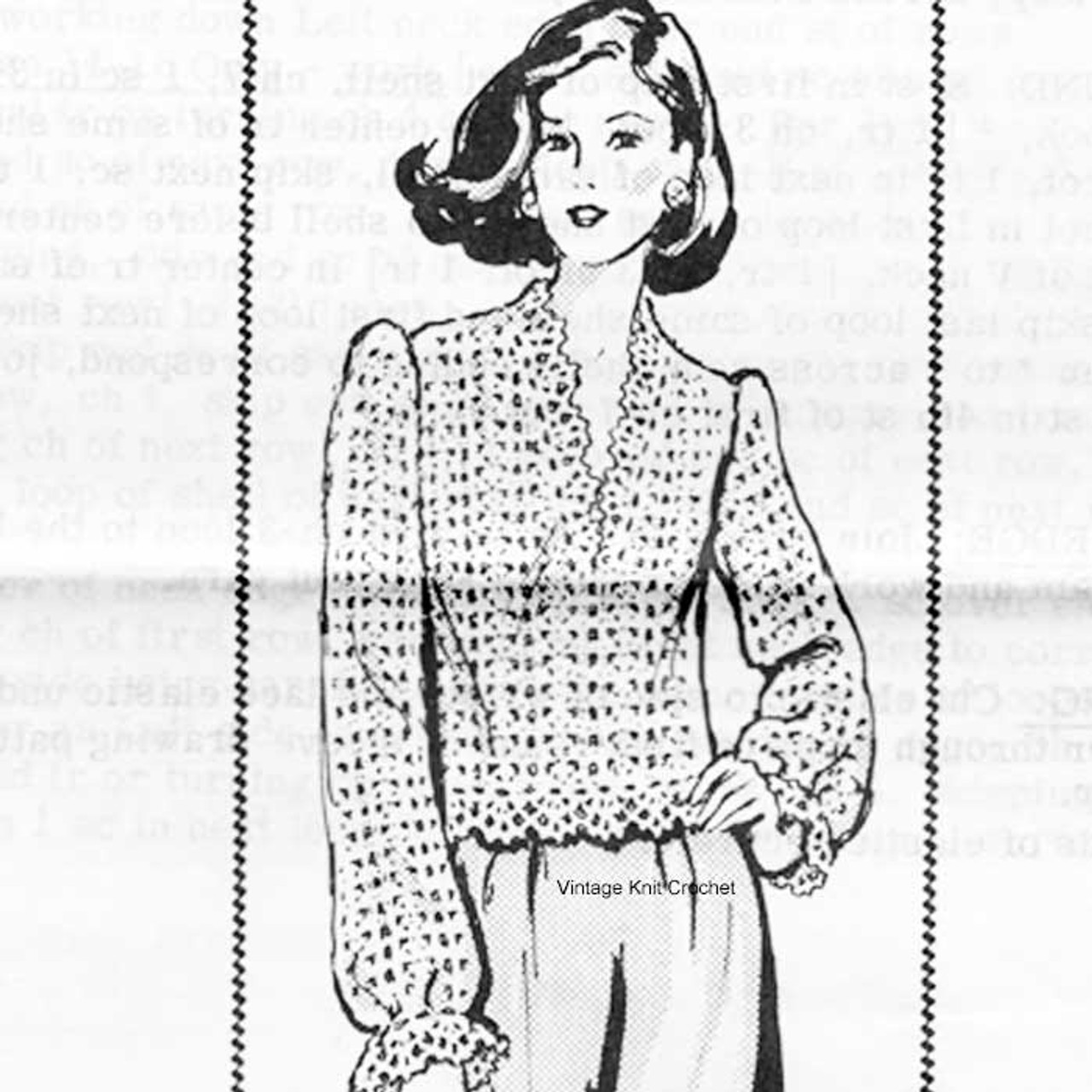 Lacy Crocheted Pullover Blouse Pattern Alice Brooks 7576