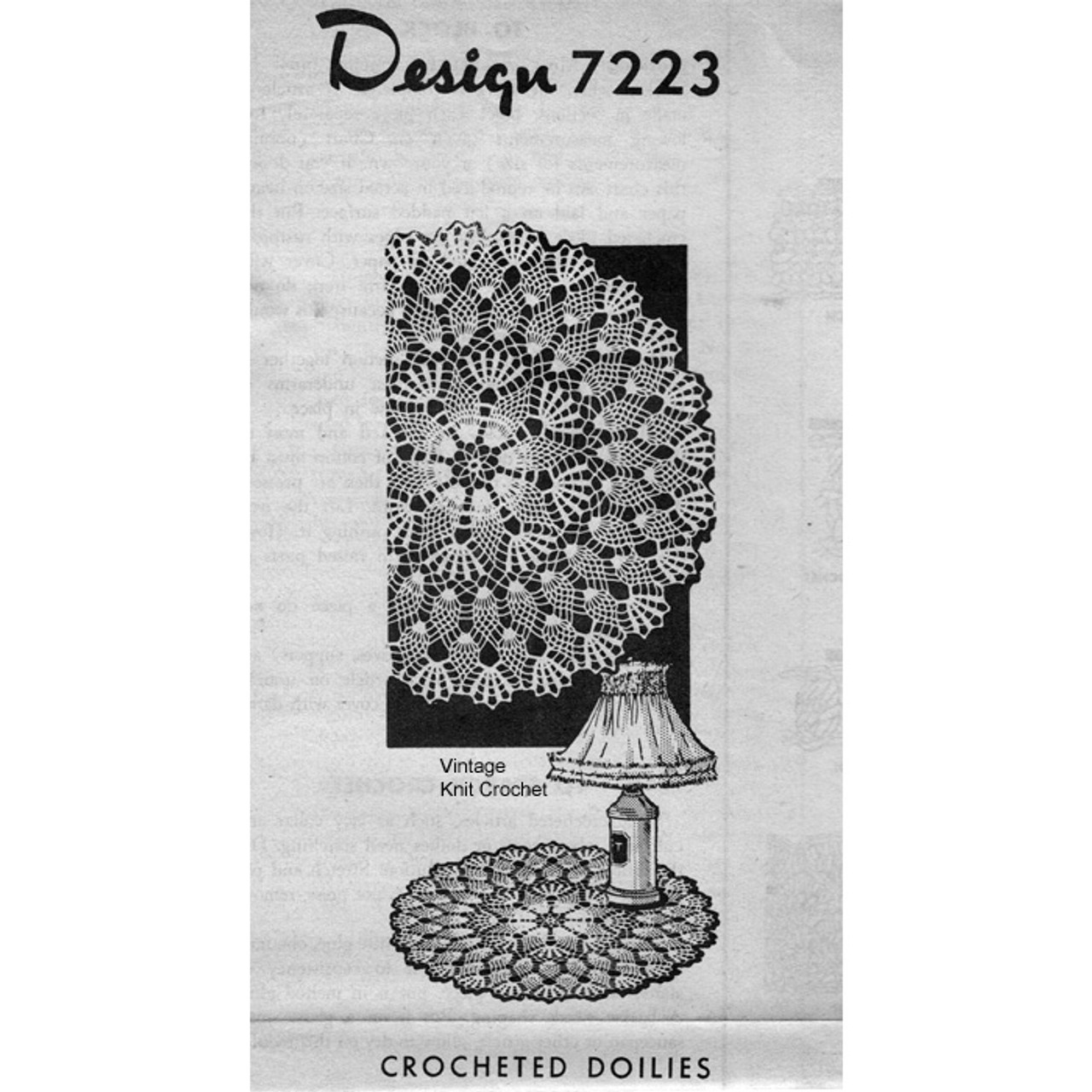 Alice Brooks 7223, Pineapple Crocheted Doily Pattern