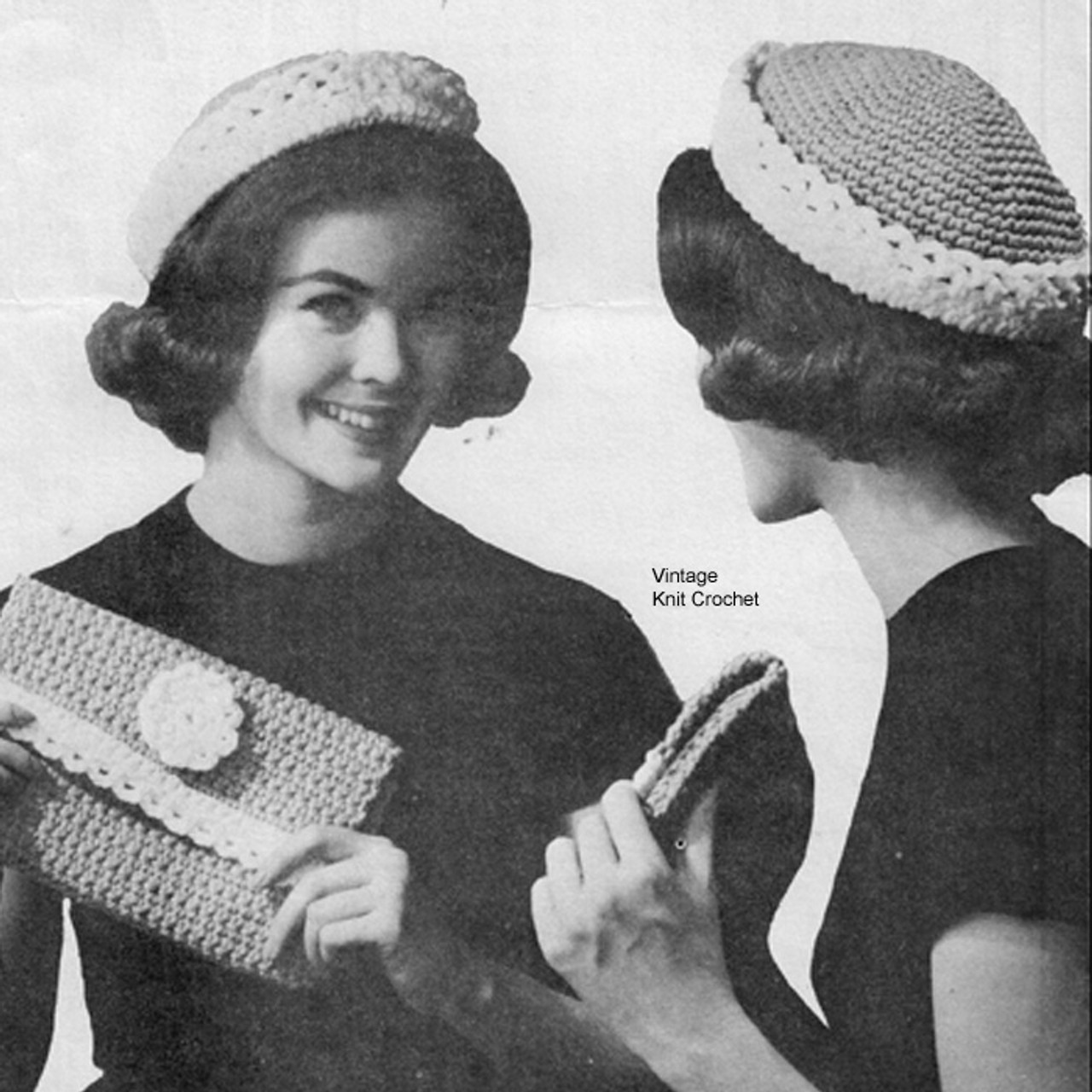 Brim Hat with Clutch Bag Crochet Pattern in Soft Spun Yarn