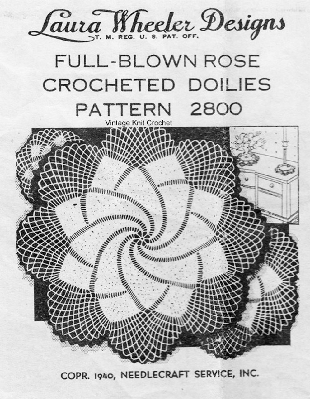 Rose Crochet Doily Pattern, 3 Sizes, Laura Wheeler 2800