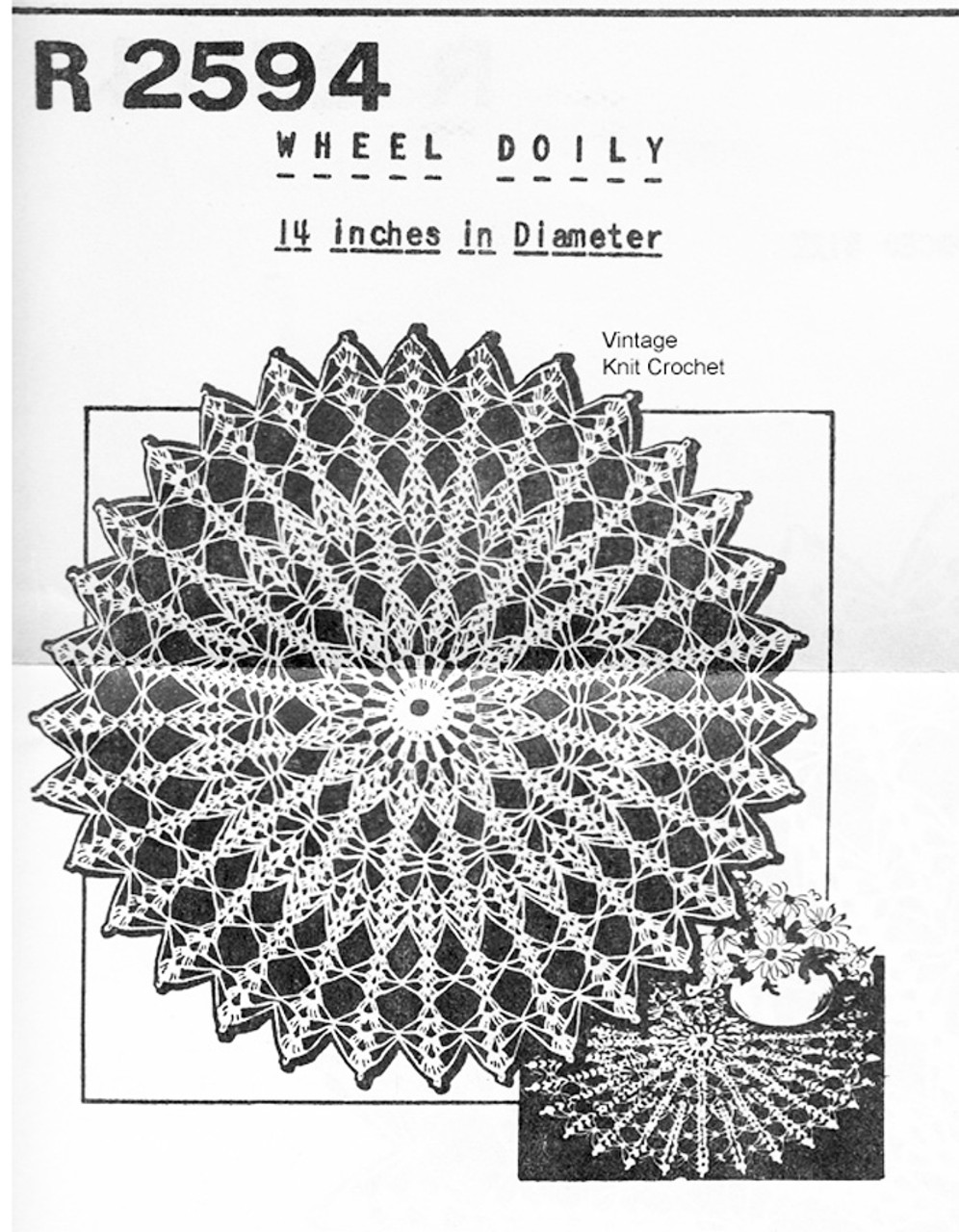 Vintage Crochet Wheel Doily Pattern R-2594 Mail Order