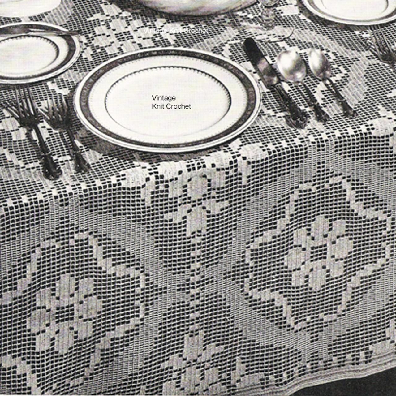 Flower Block Filet Crochet Tablecloth Pattern
