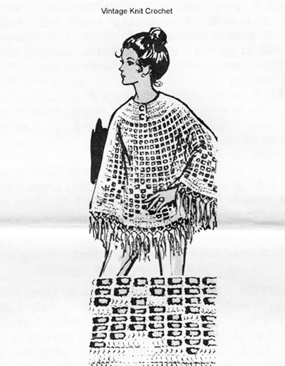 Long Crochet Poncho Pattern, Mail Order 7321