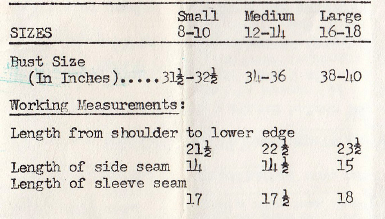 Size Chart for Mail Order 5097