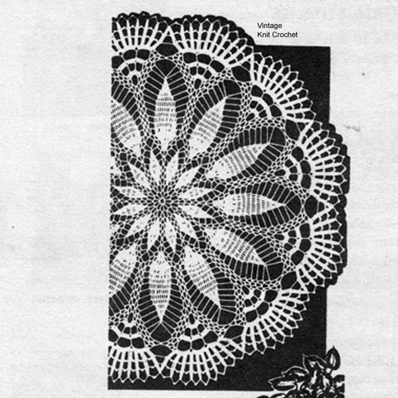 Pineapple Flower Crochet Doily pattern No 7225