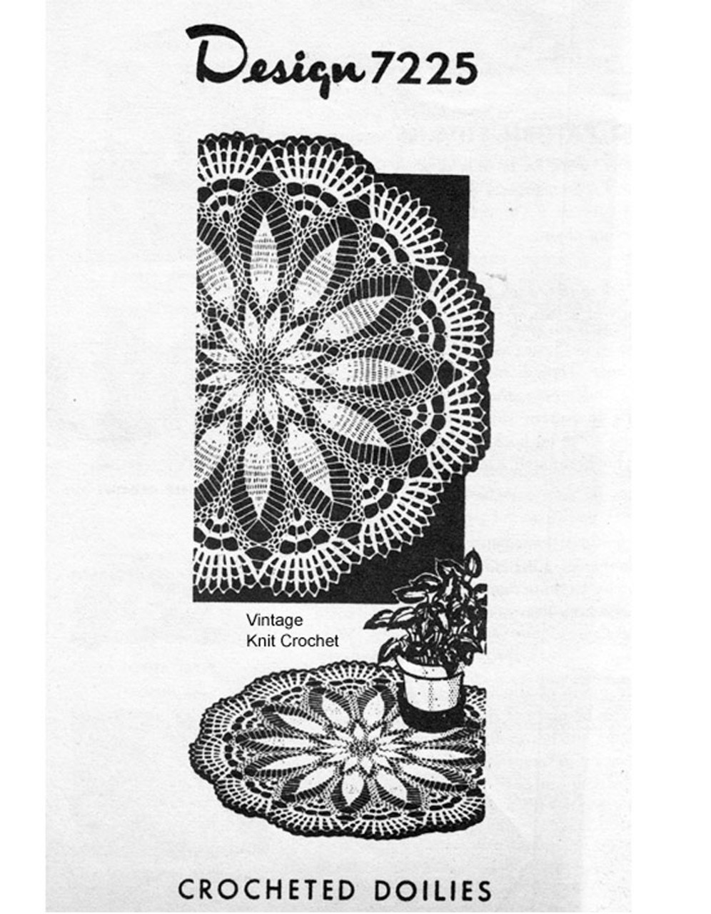 Crochet Doily Pattern, Pineapple Flower, Mail Order Design 7225