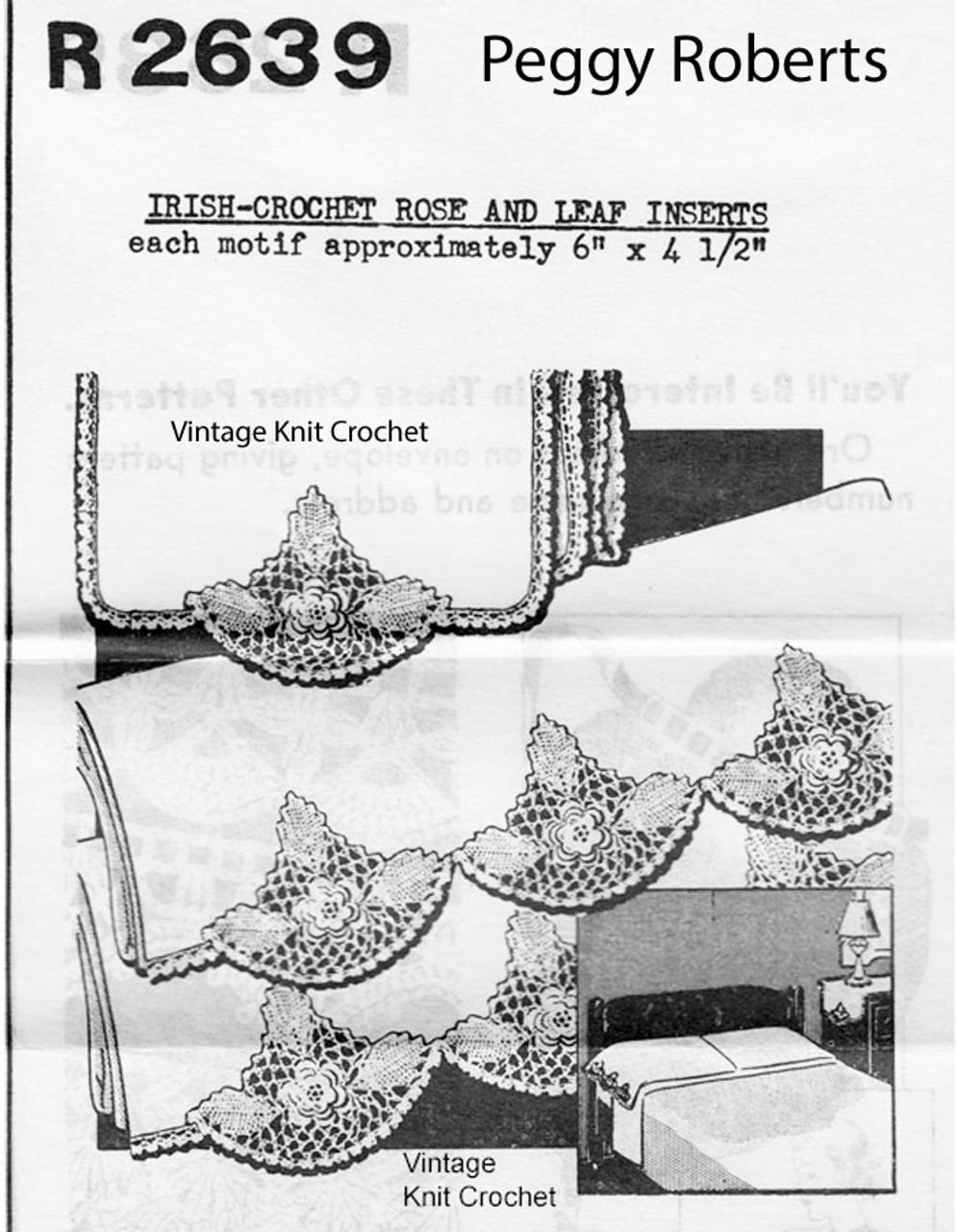 Irish Rose Crochet Insert Pattern, Peggy Roberts 2639