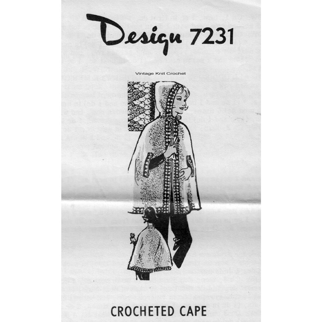 Hooded Crochet Cape Pattern, Mail Order 7231