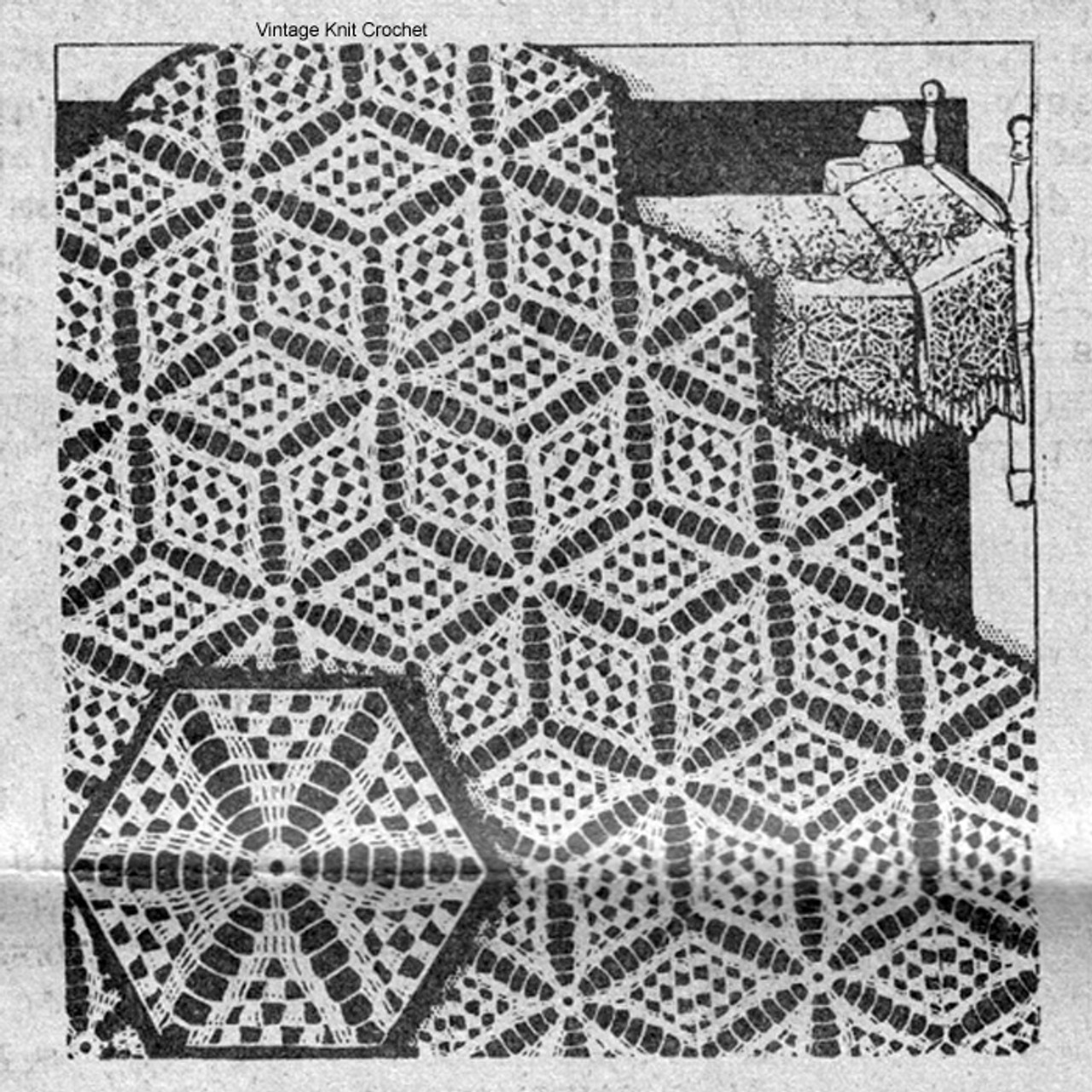 Mail Order 7240, Star of East Crocheted Bedspread Pattern