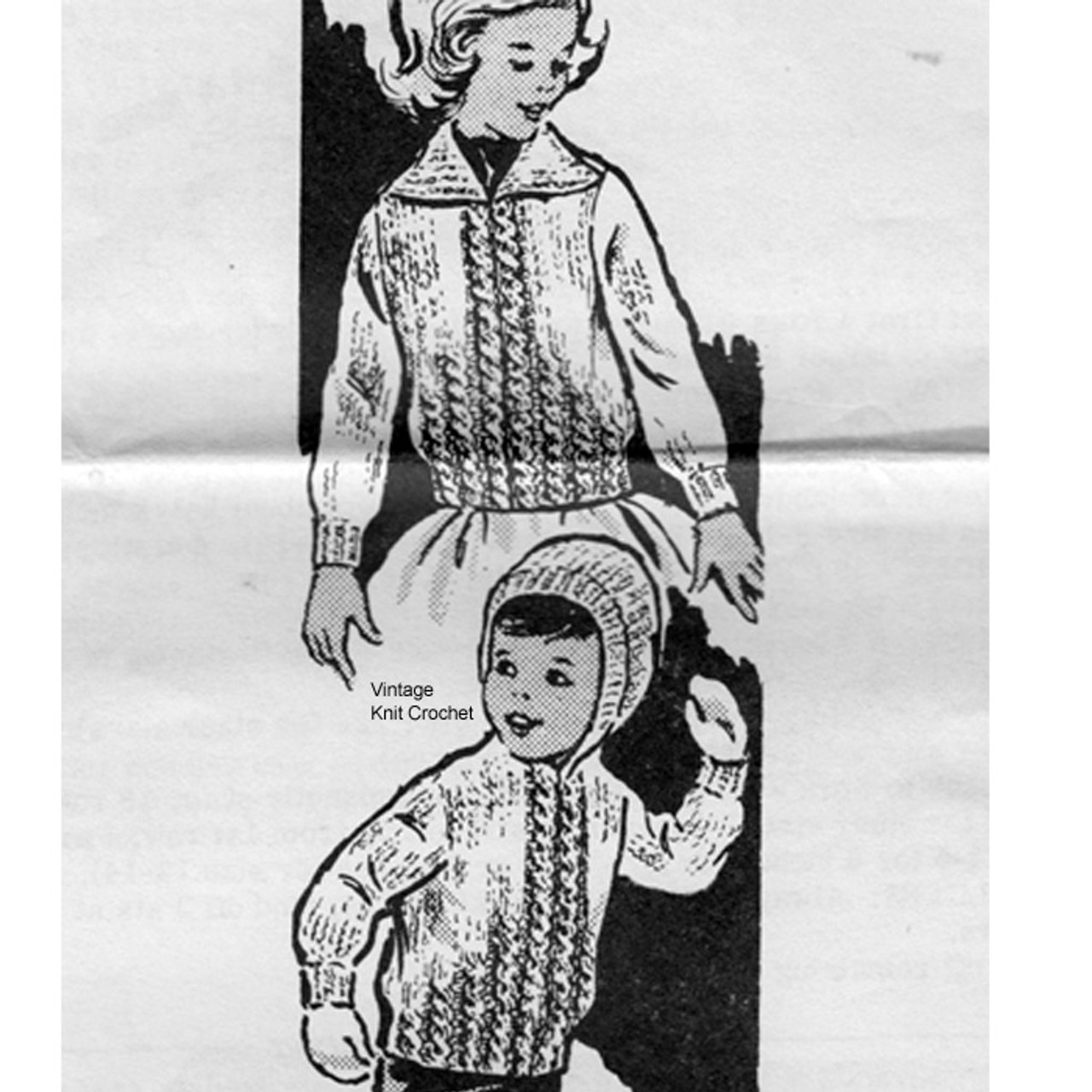 Mail Order Knitting Pattern for Childs Coat on Big Needles