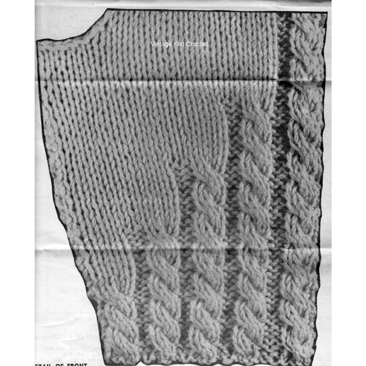 Knitted cable trim illustration on childs jacket.