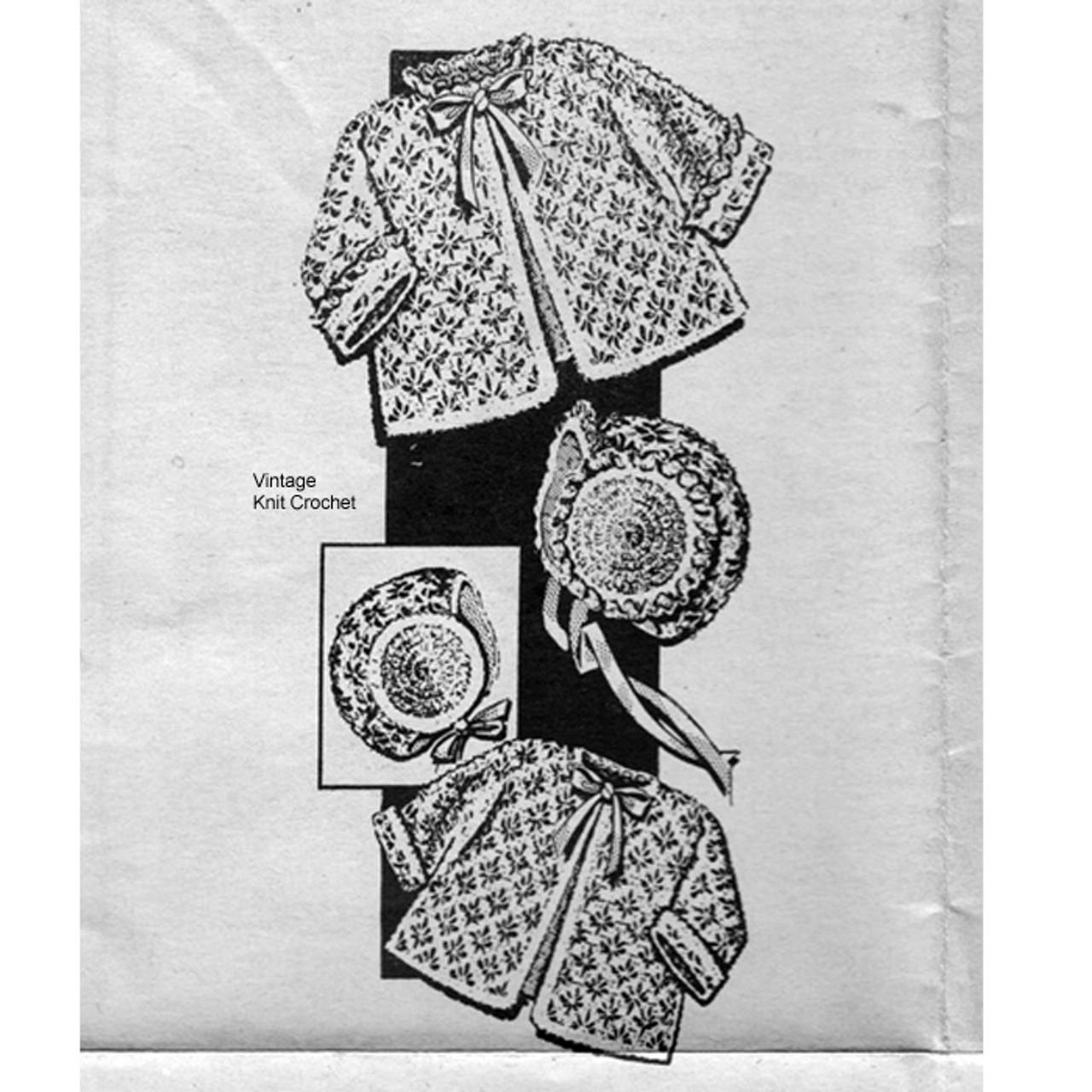 Mail Order Crochet Baby Jacket Pattern in spider web stitch, Alice Brooks 7252