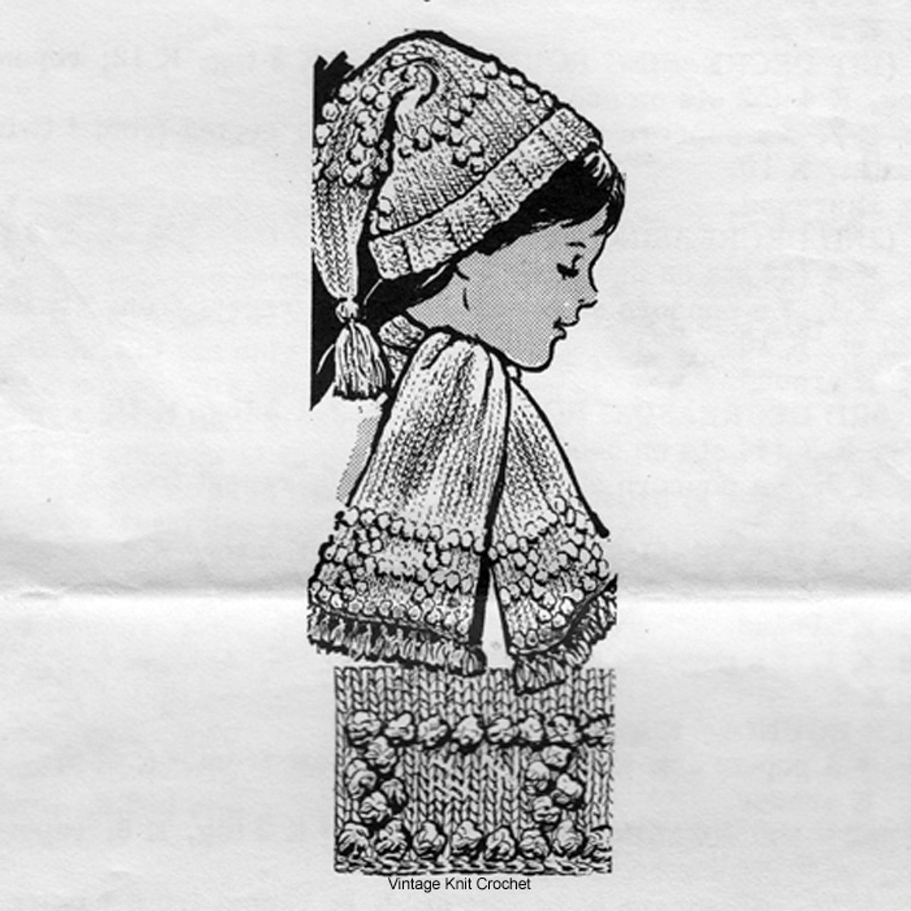 Alice Brooks Knitted Childrens stocking cap pattern No 7390