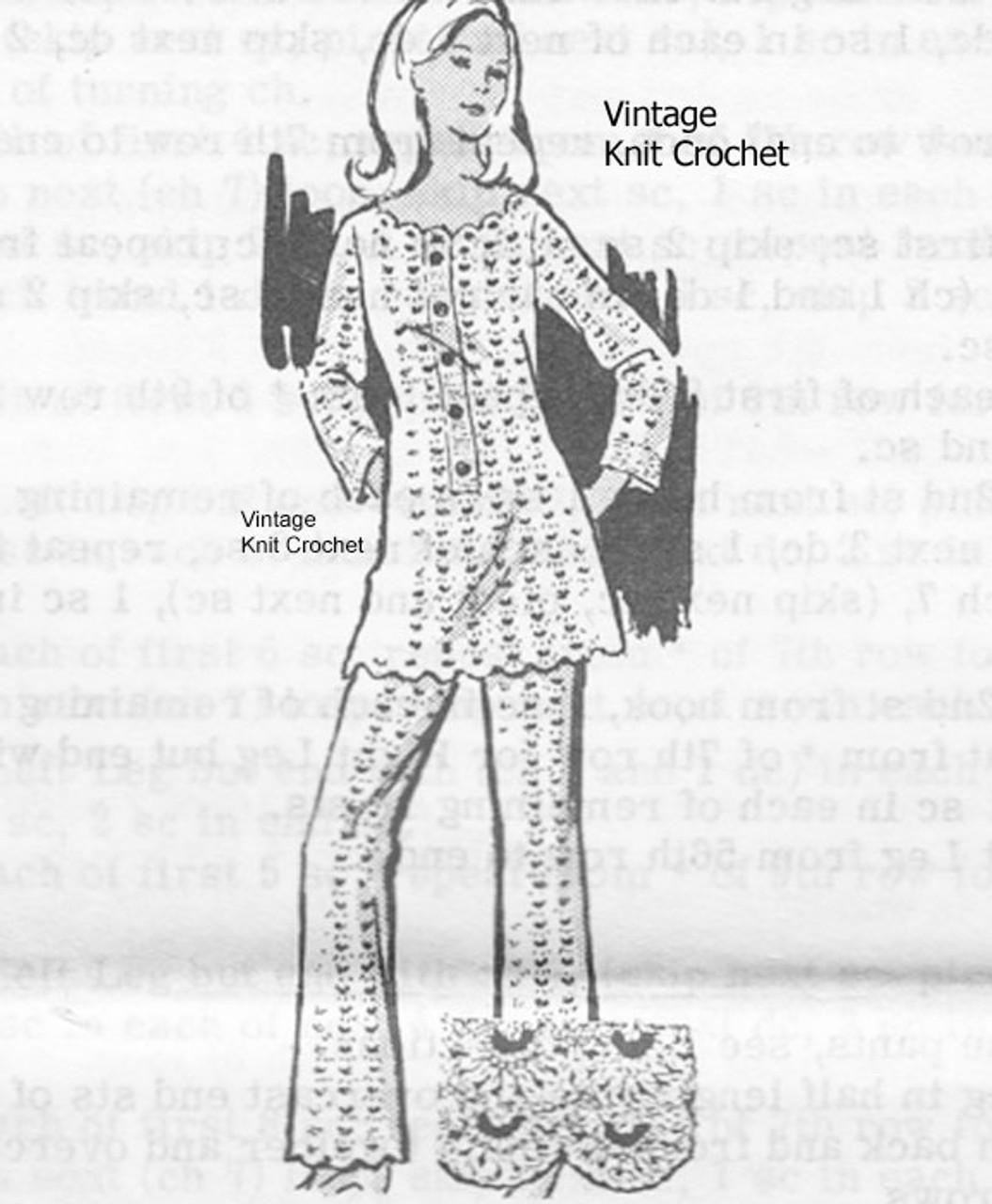 Vintage Crochet Pantsuit Pattern, Mail Order 7373
