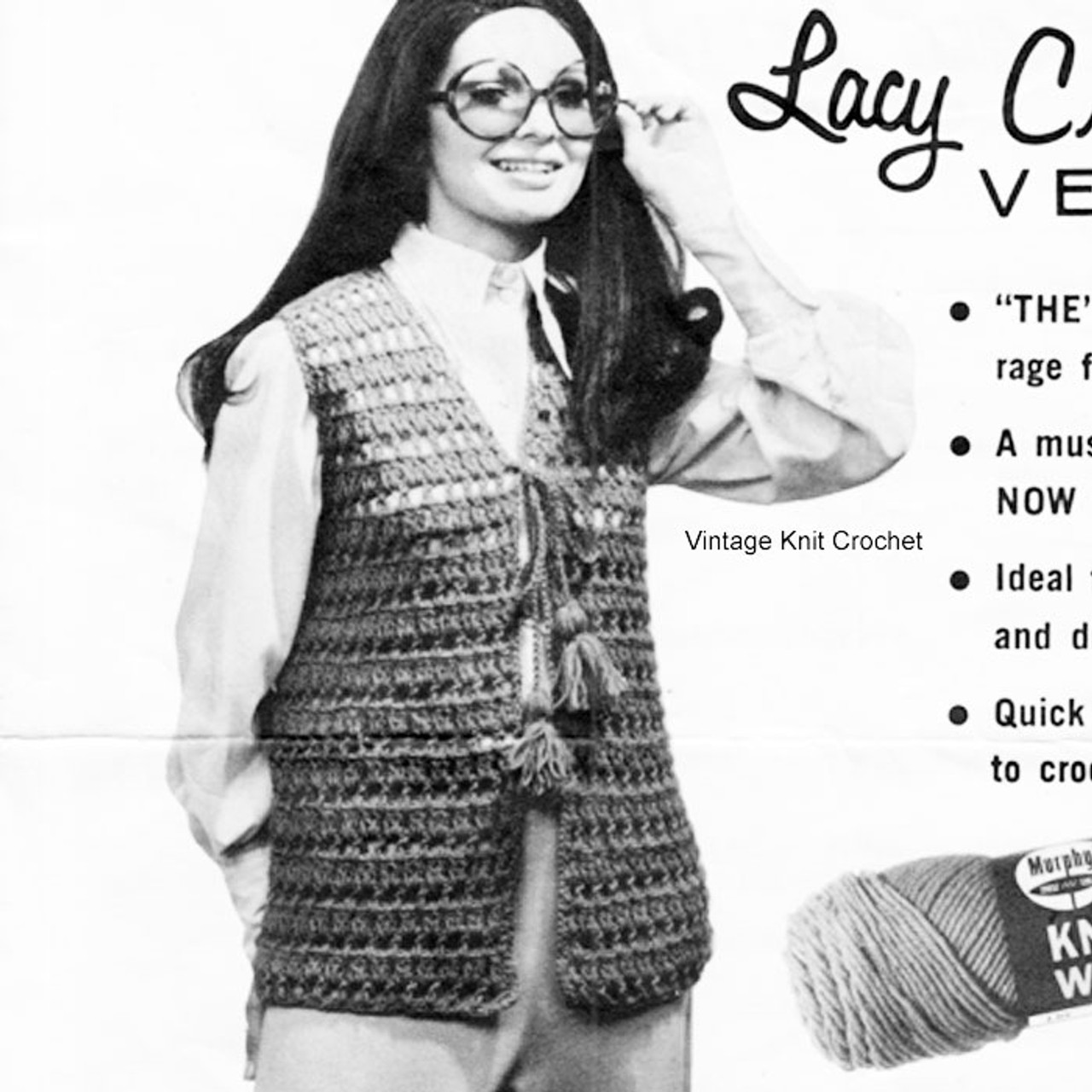 Easy Crochet Lace Vest Pattern in Knitting Worsted