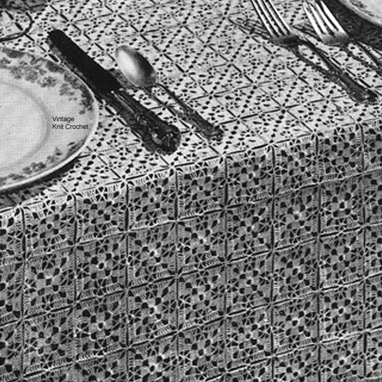 Vintage 1940's crochet tablecloth pattern is made up of 2 inch squares joined to form a cloth that measure 66 x 88 inches.  Coats & Clark's No 7744