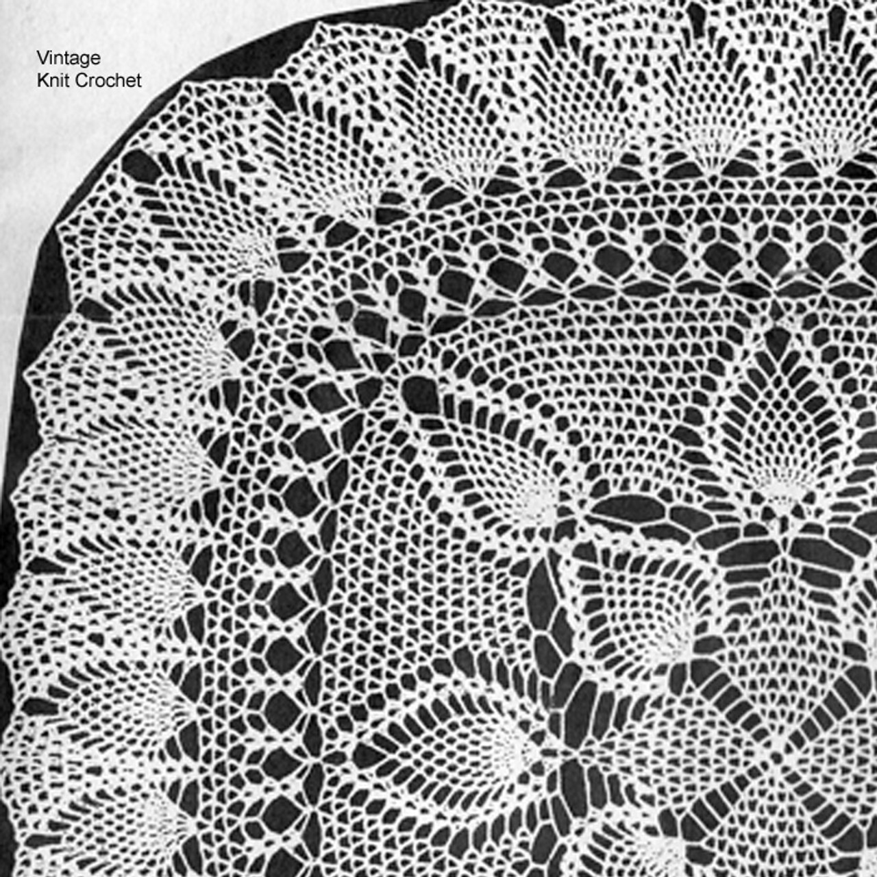 Mail Order 866, pineapple doily pattern is square with narrow ruffled border in four sizes.  Martha Madison Design.