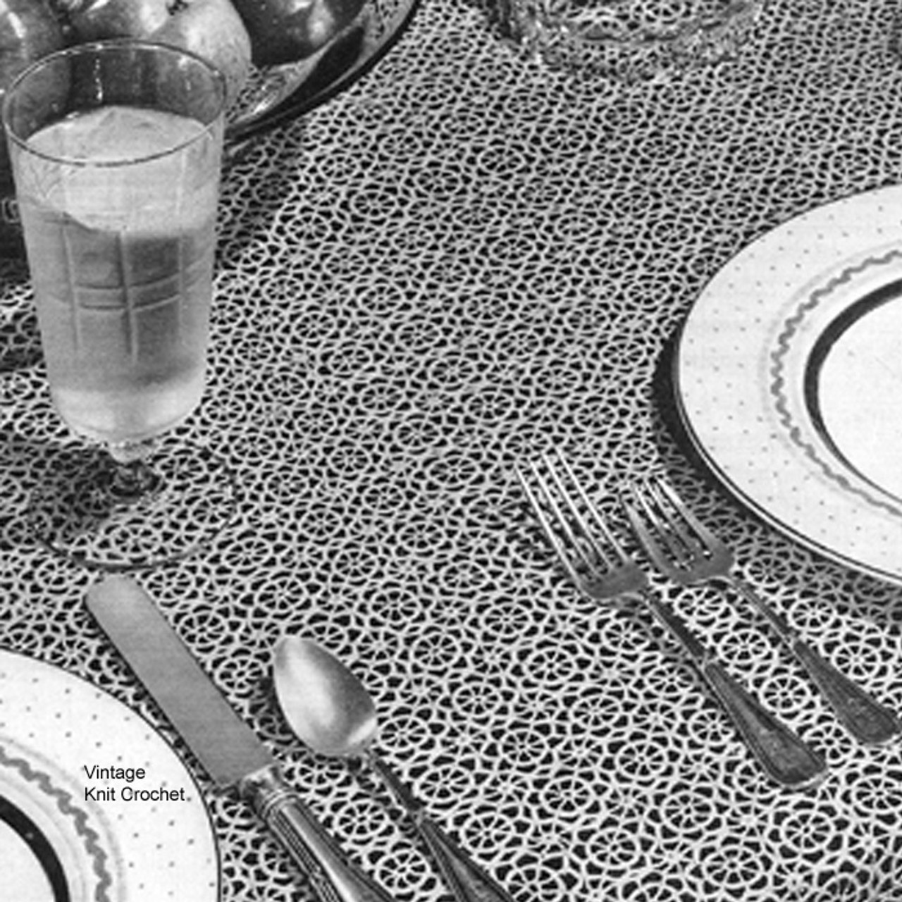 Vintage Mini Crocheted medallion pattern for tablecloth that measures 56 x 72 inches