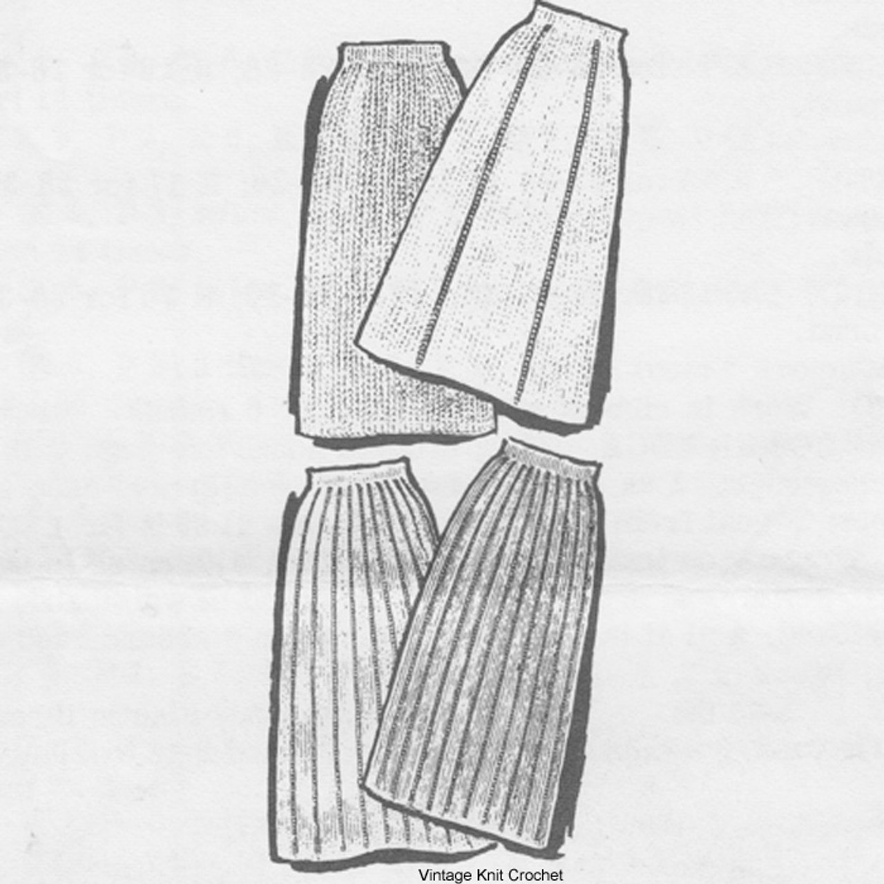 Vintage Design Knitted Skirts Pattern, Alice Brooks 7313