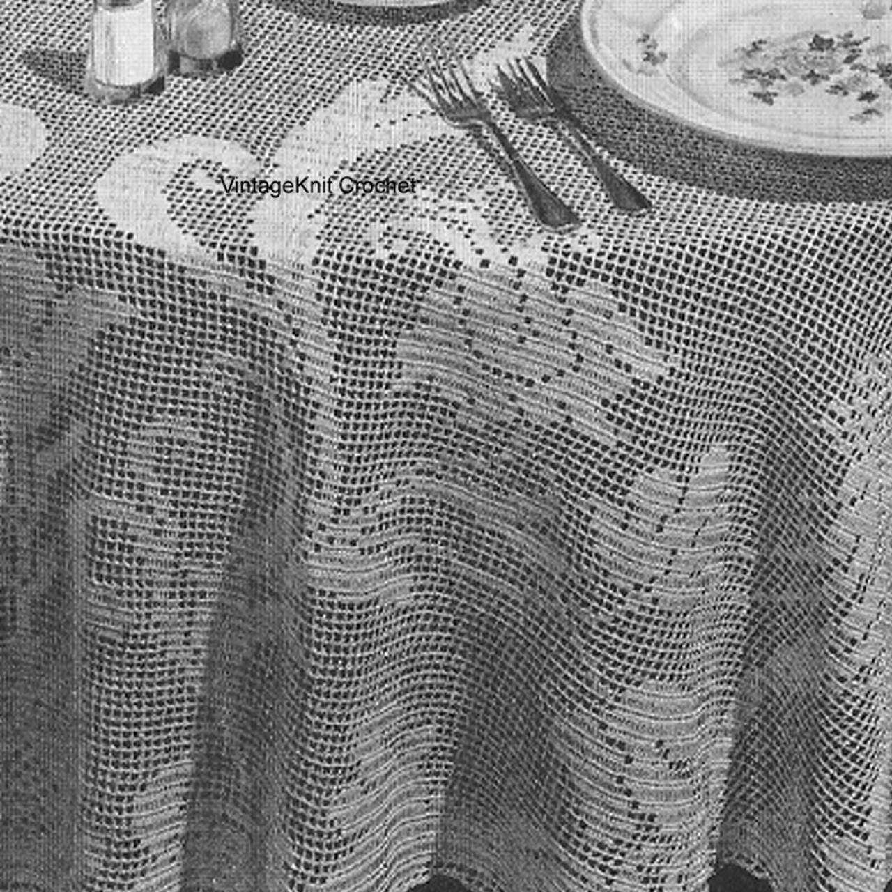 Round Floral Filet Tablecloth Pattern No 7737