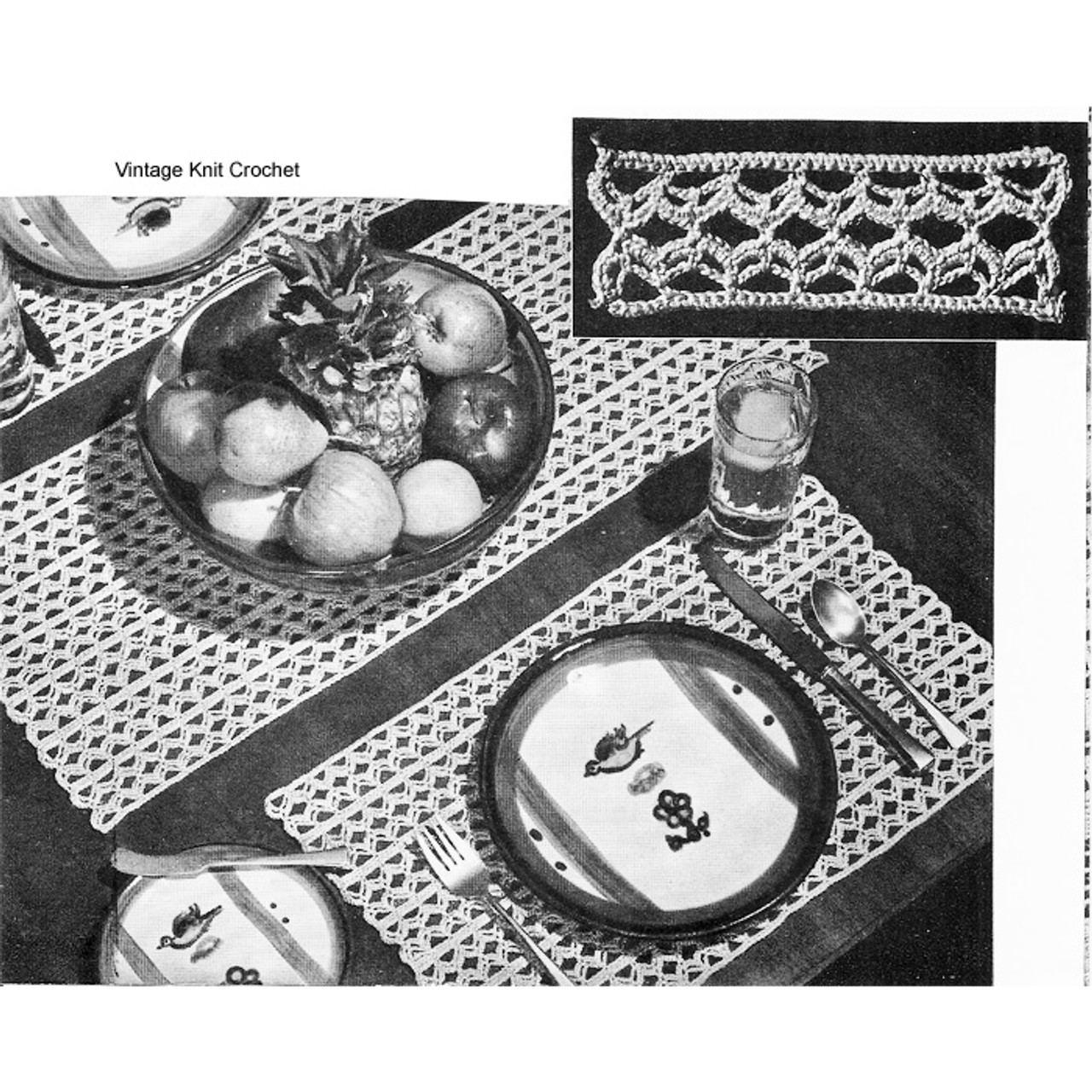 Beginners Crochet Place Mats Runner Pattern No 7748