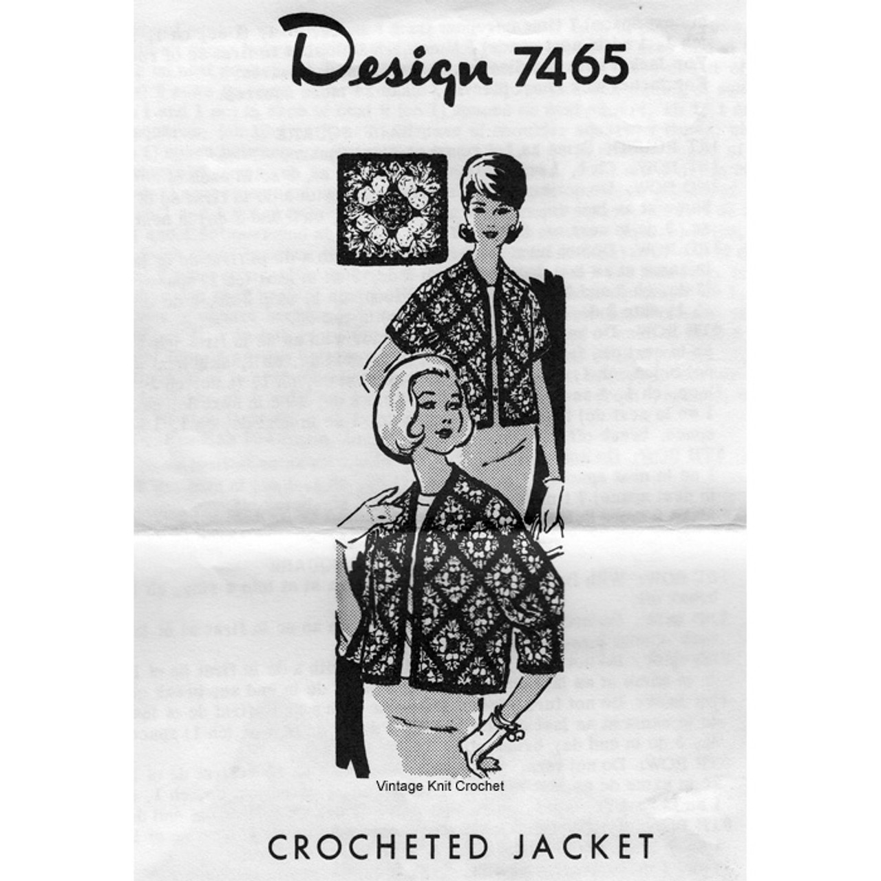 Granny Block Crochet Jacket Pattern Design 7465
