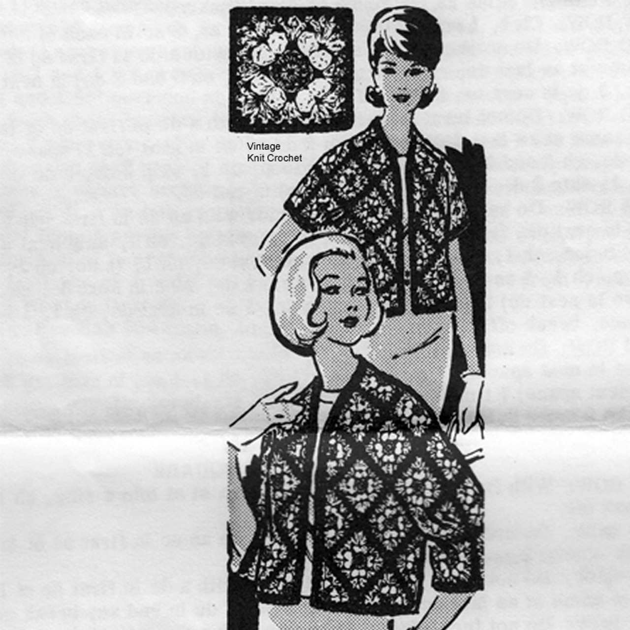 Diamond Block Crochet Jacket Pattern, Mail Order Design 7465