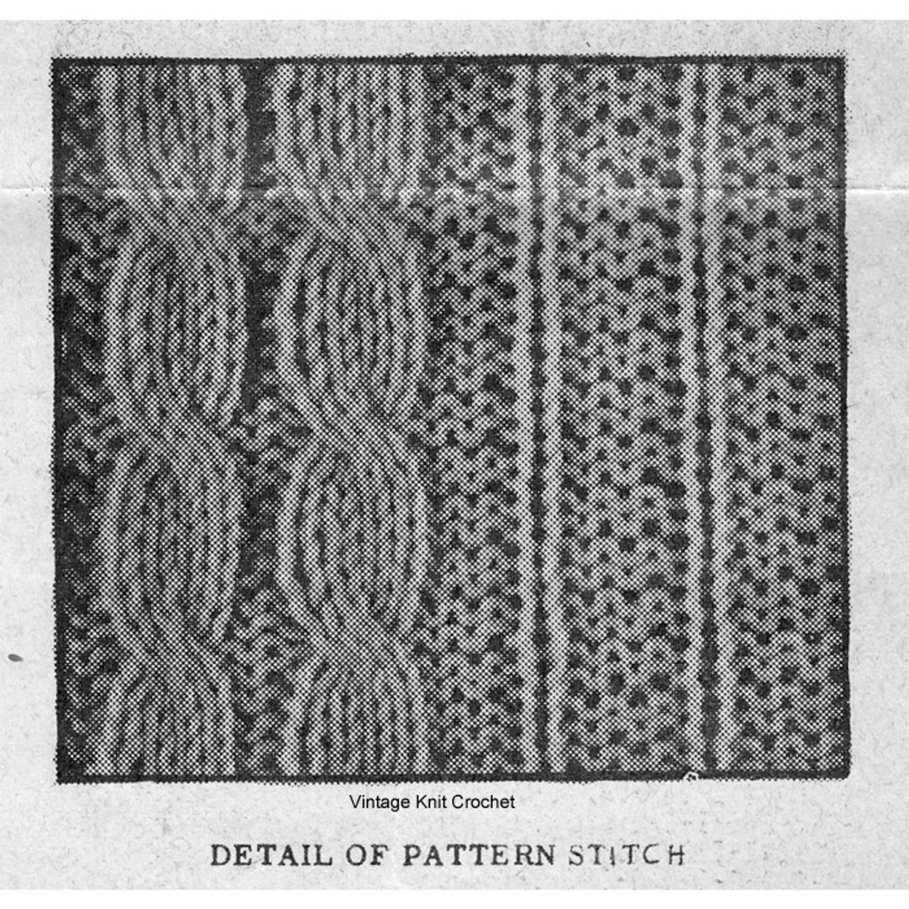 Cable Vest Knitted Pattern Stitch Illustration for Alice Brooks 7732