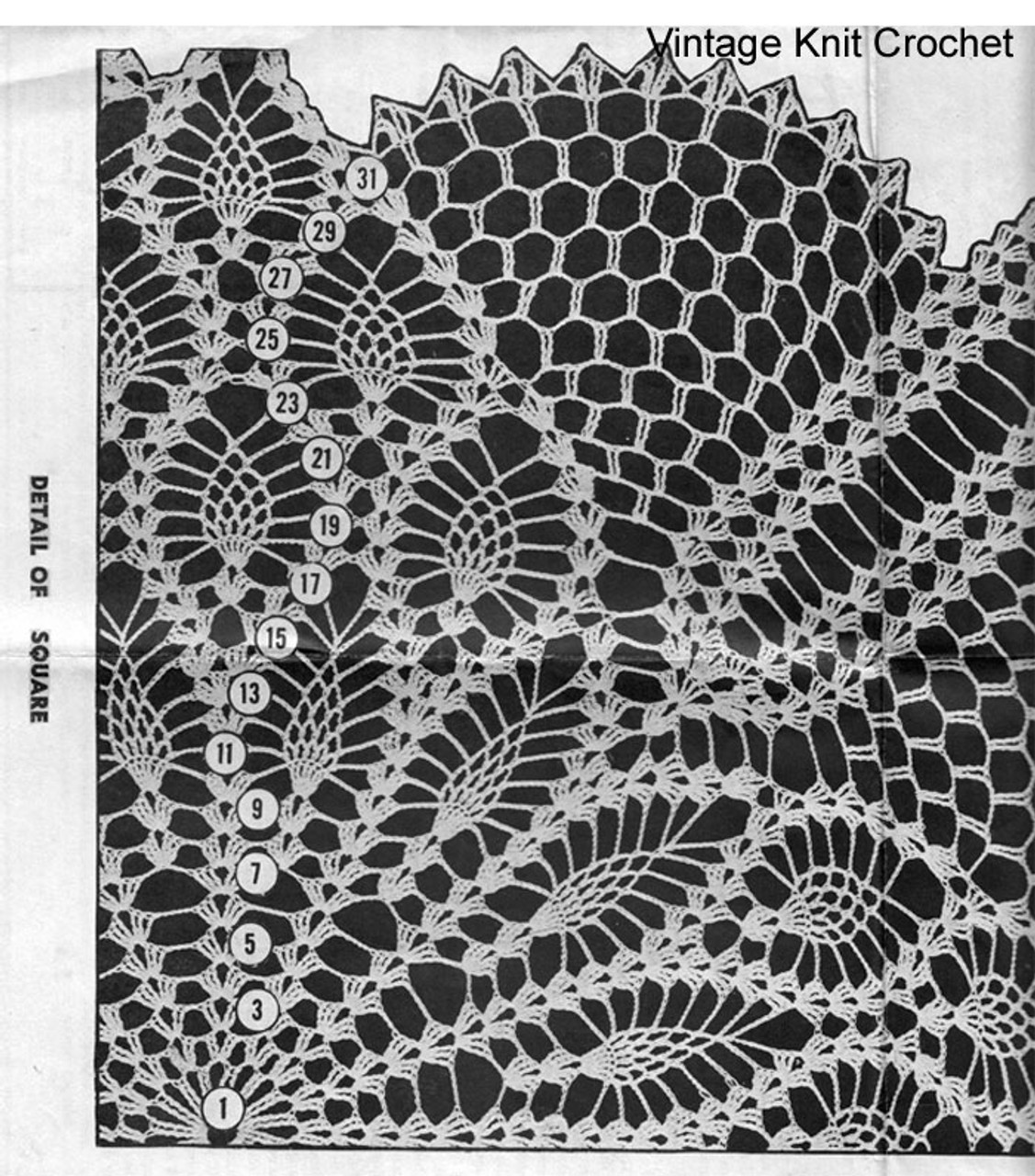 Square Pineapple Doily Pattern illustration, Mail Order 7110