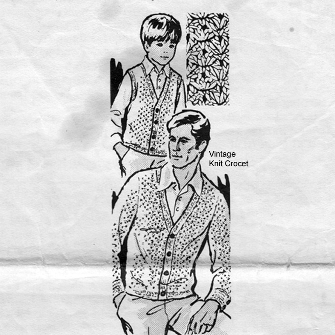Father Son Crocheted Cardigan Vest Pattern, Mail Order 7185