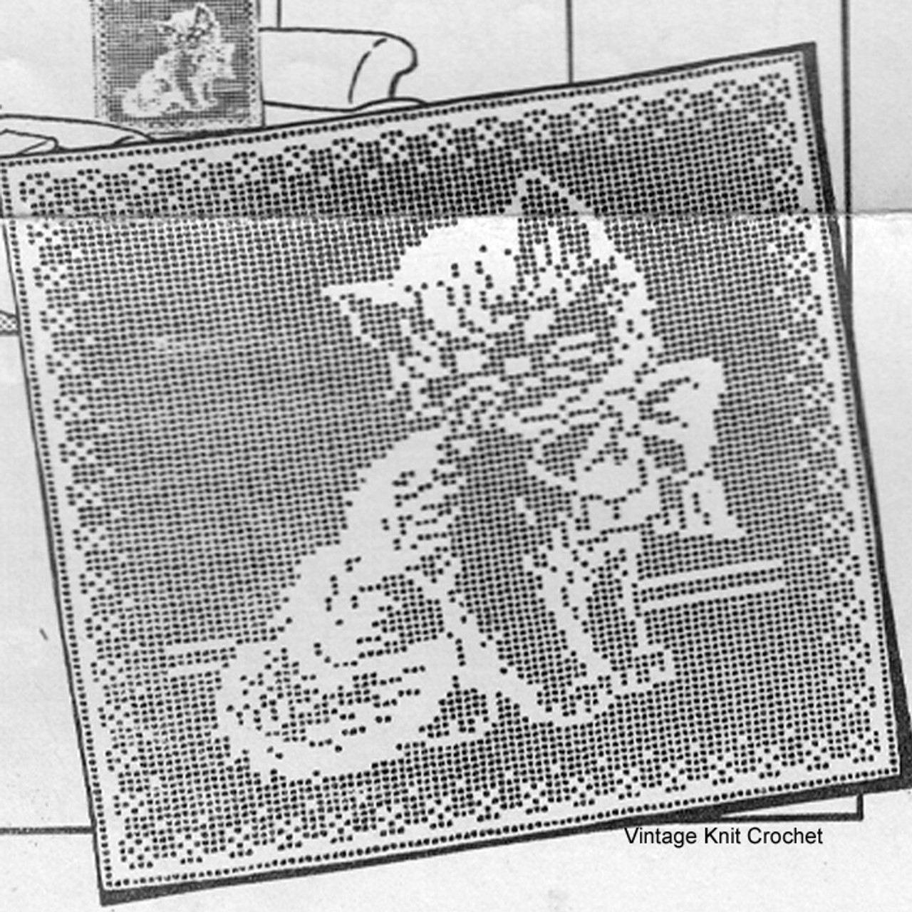Mail Order 1766, Filet Crochet Kitten Pillow Pattern