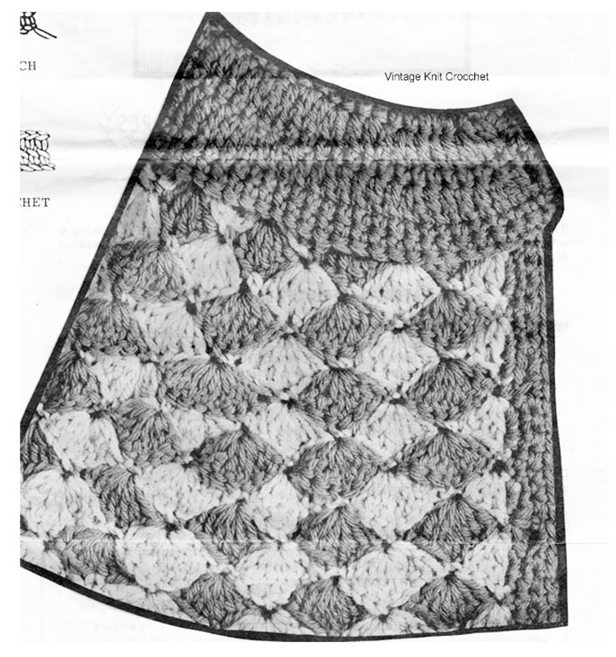 Crochet Shell Stitch Illustration for Capes pattern 7393