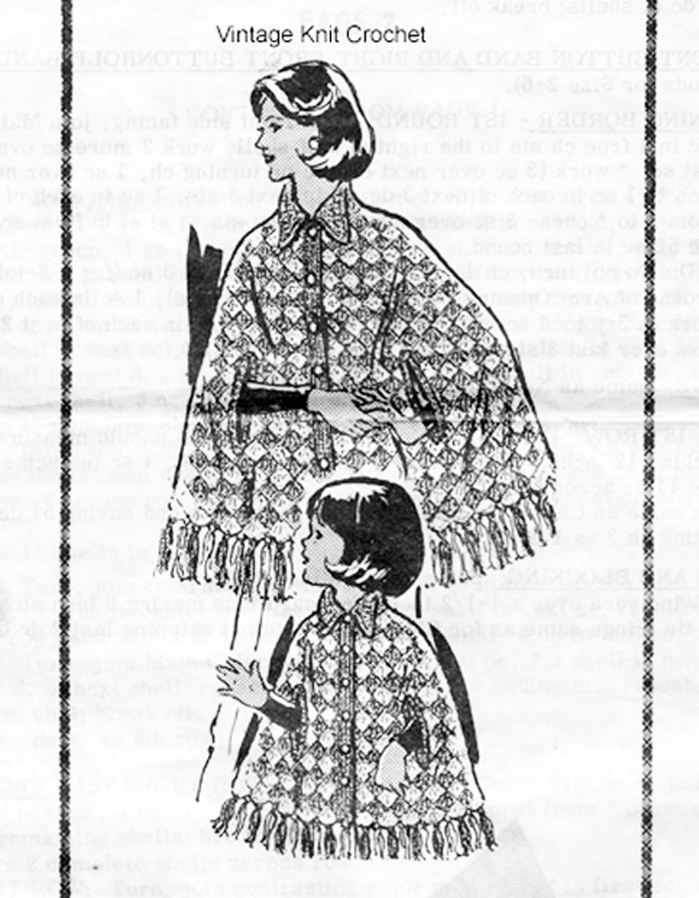 Mother Daughter Crochet Capes Pattern, Alice Brooks 7393