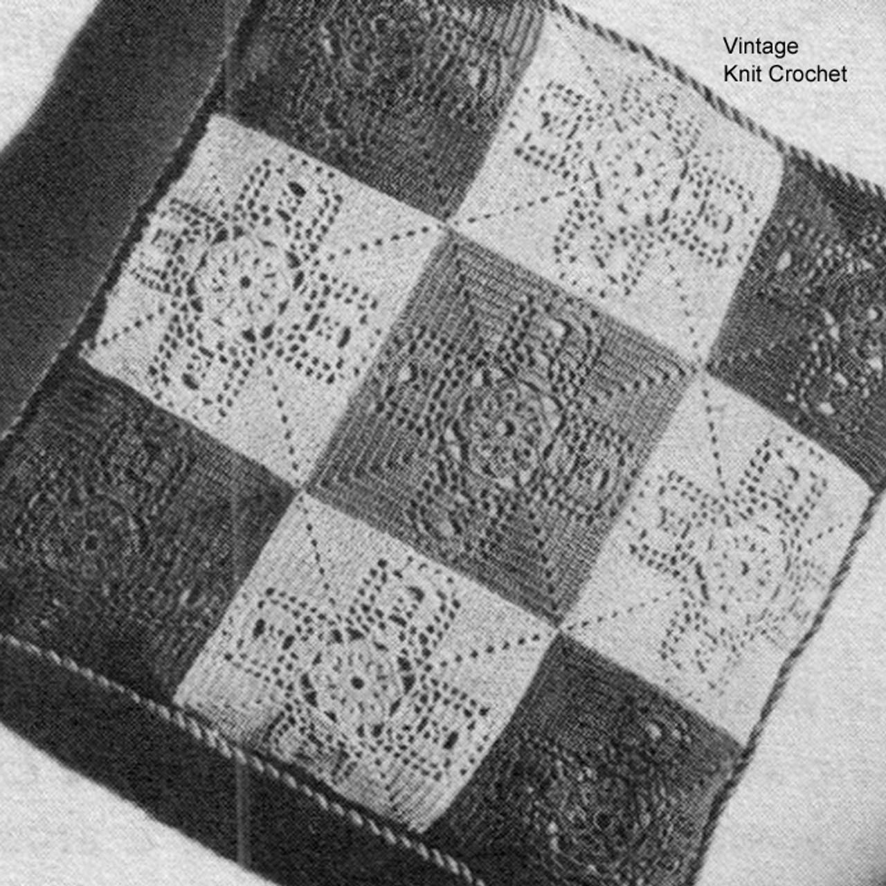Vintage Crochet Pillow Pattern in flower blocks