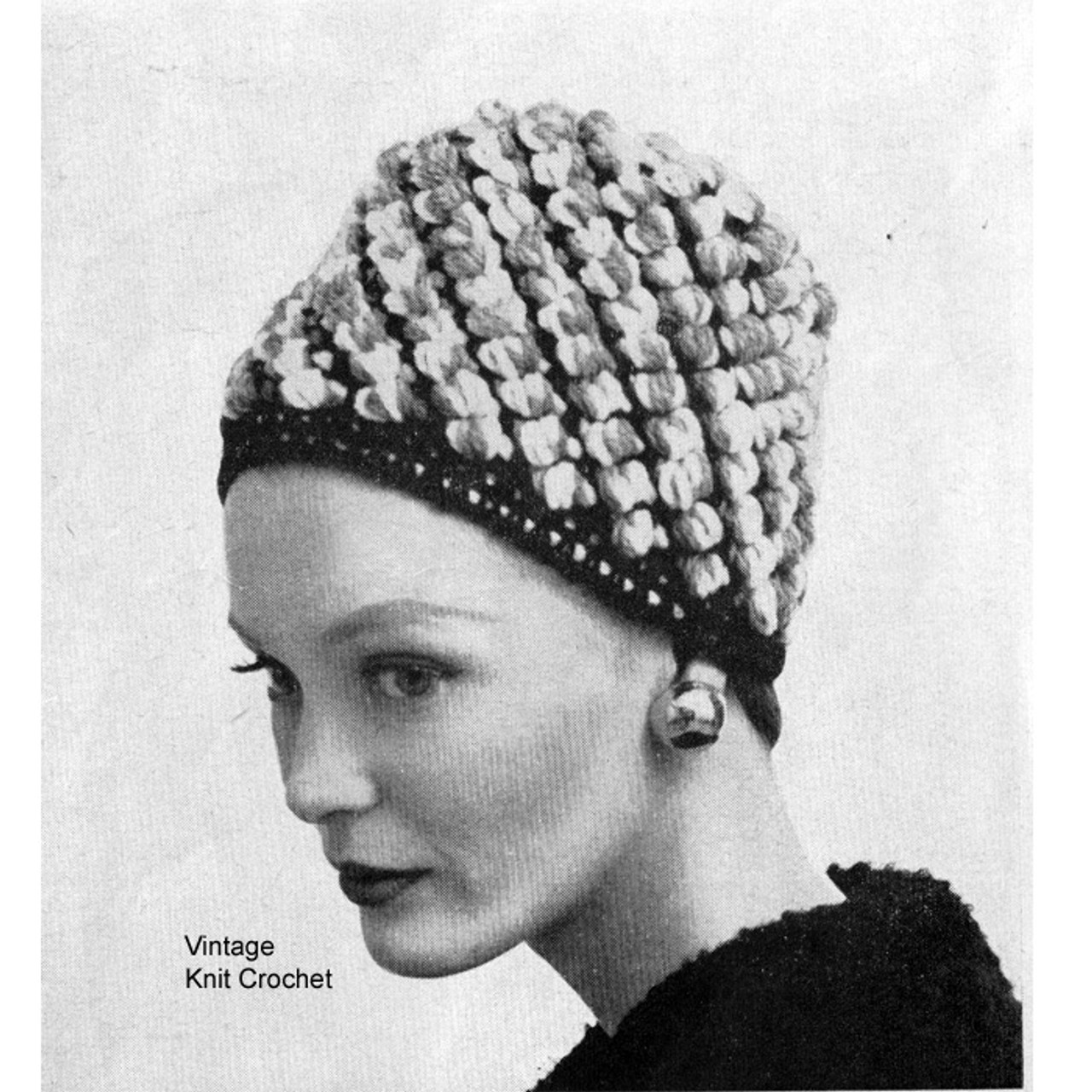 Crochet Cossack Cloche Hat Pattern in Nubby Stitch